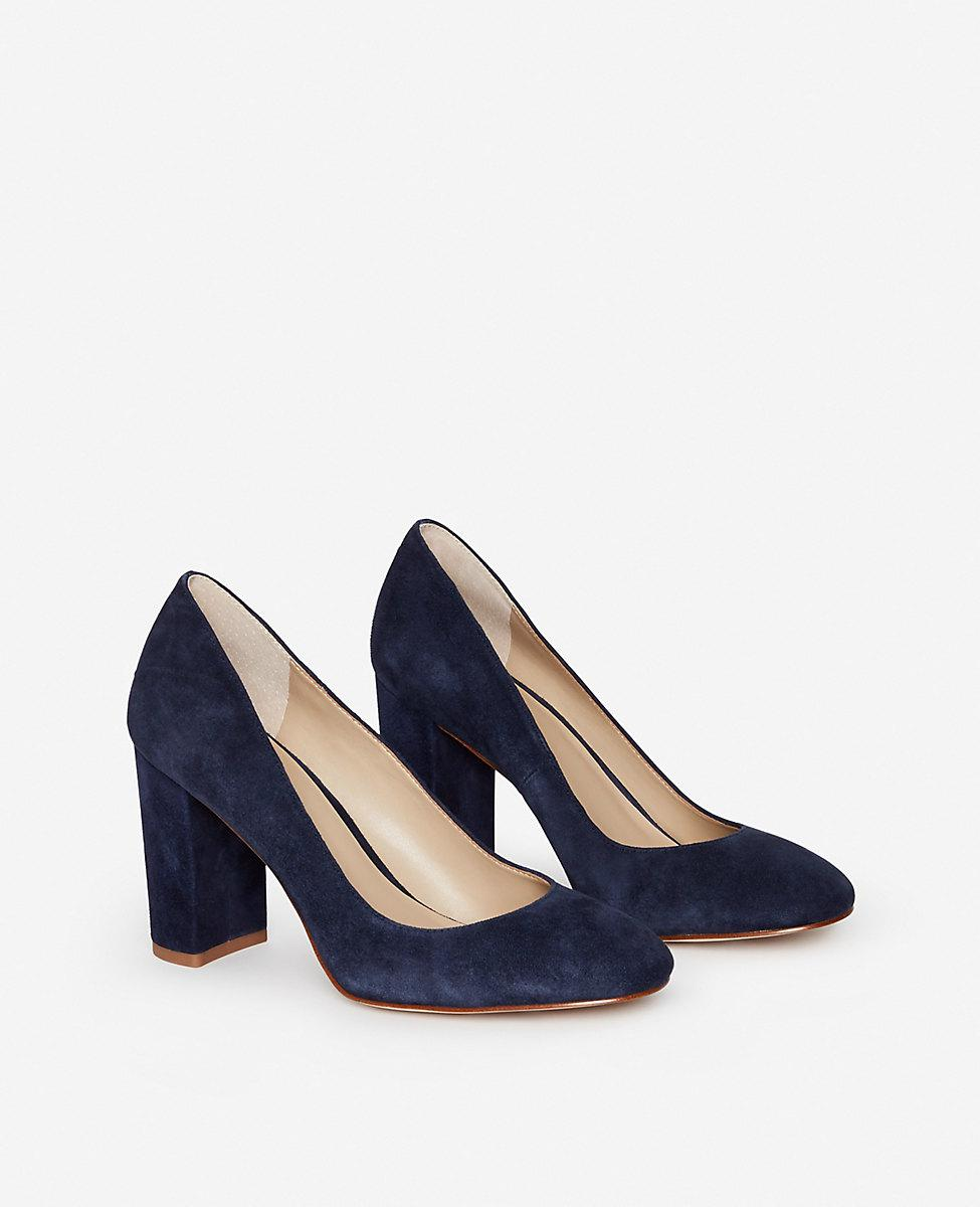 b0b64b5bb26 Lyst - Ann Taylor Emeline Suede Block Heel Pumps in Blue