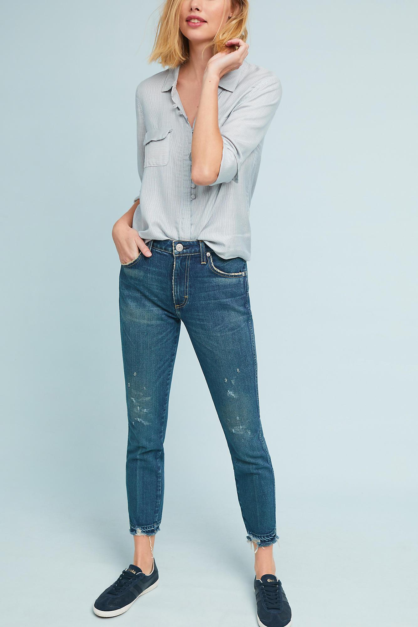 Cheap Sale Wiki Under 70 Dollars skinny cropped high-waisted jeans - Blue Amo Pre Order Cheap Price J6MQinc