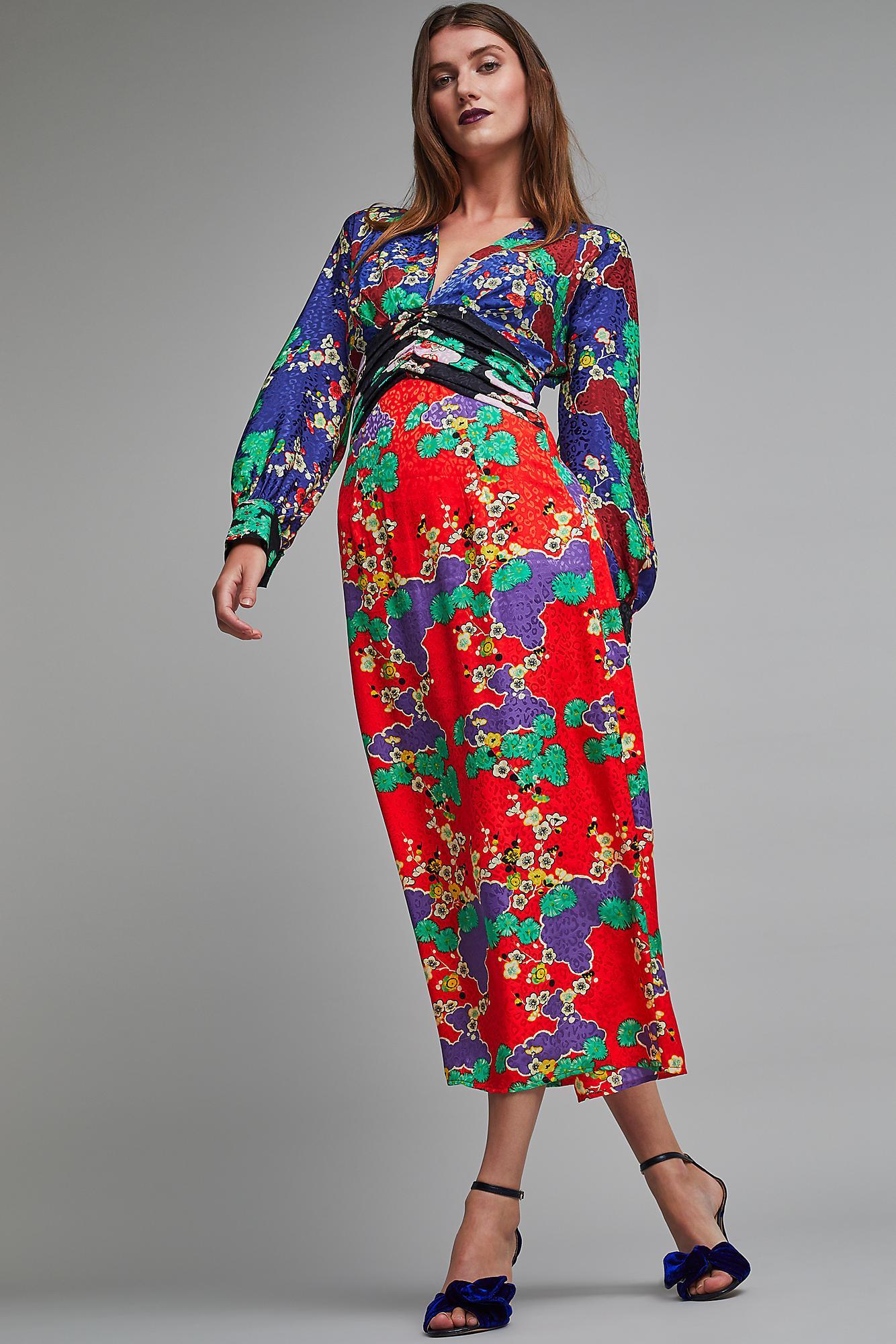 651d7d7cb10 RIXO London Fedora Jacquard Silk Maxi Dress - Lyst