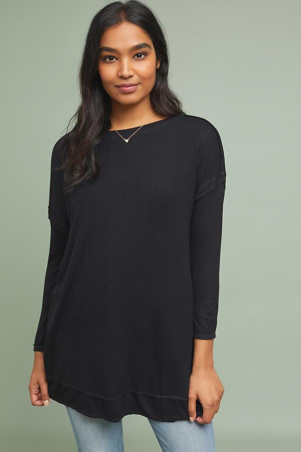 abddf4db40712f Bordeaux Claremont Ribbed Tunic Top in Black - Lyst