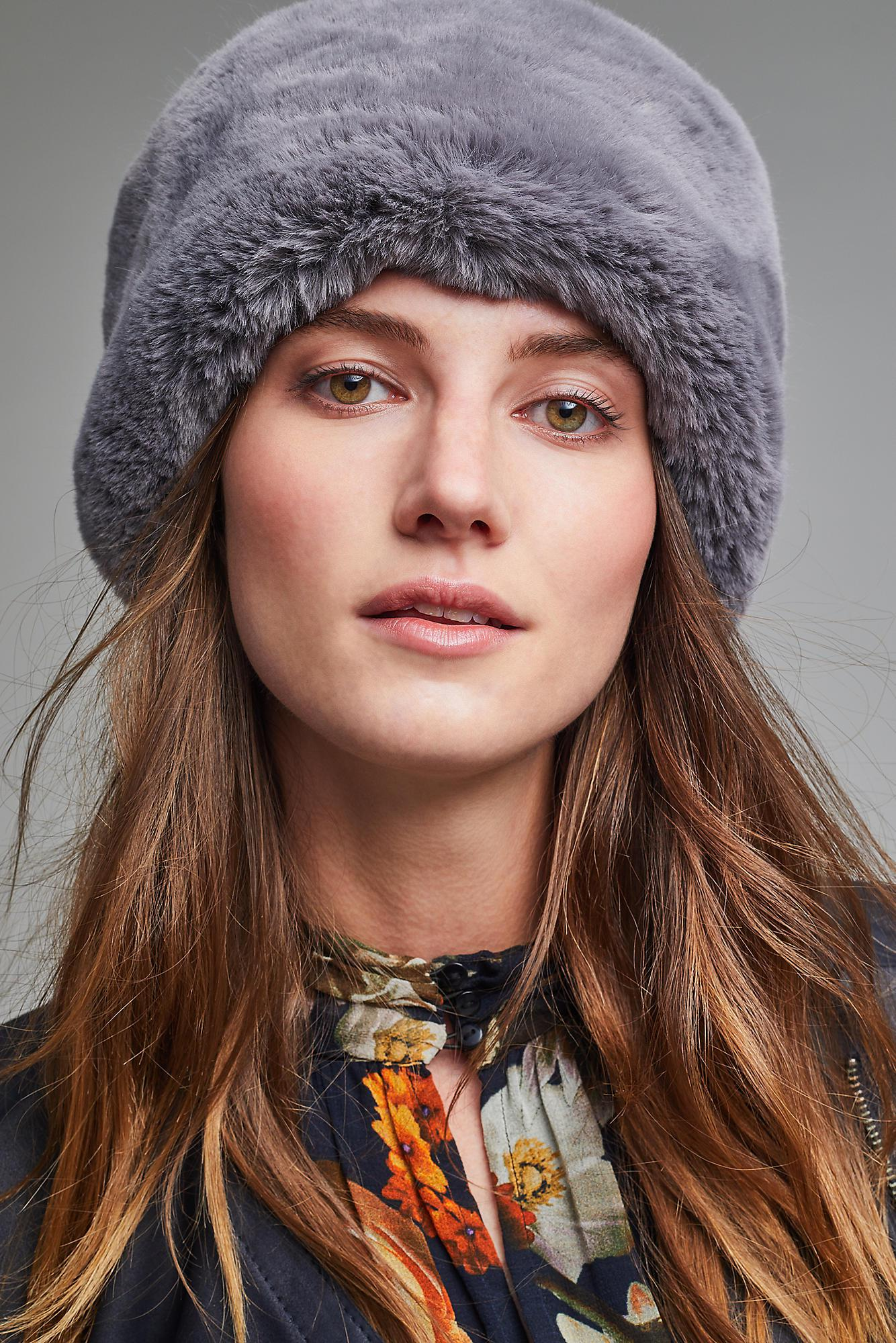 84b5b0d2 Helen Moore Faux Fur Pill Box Hat in Gray - Lyst