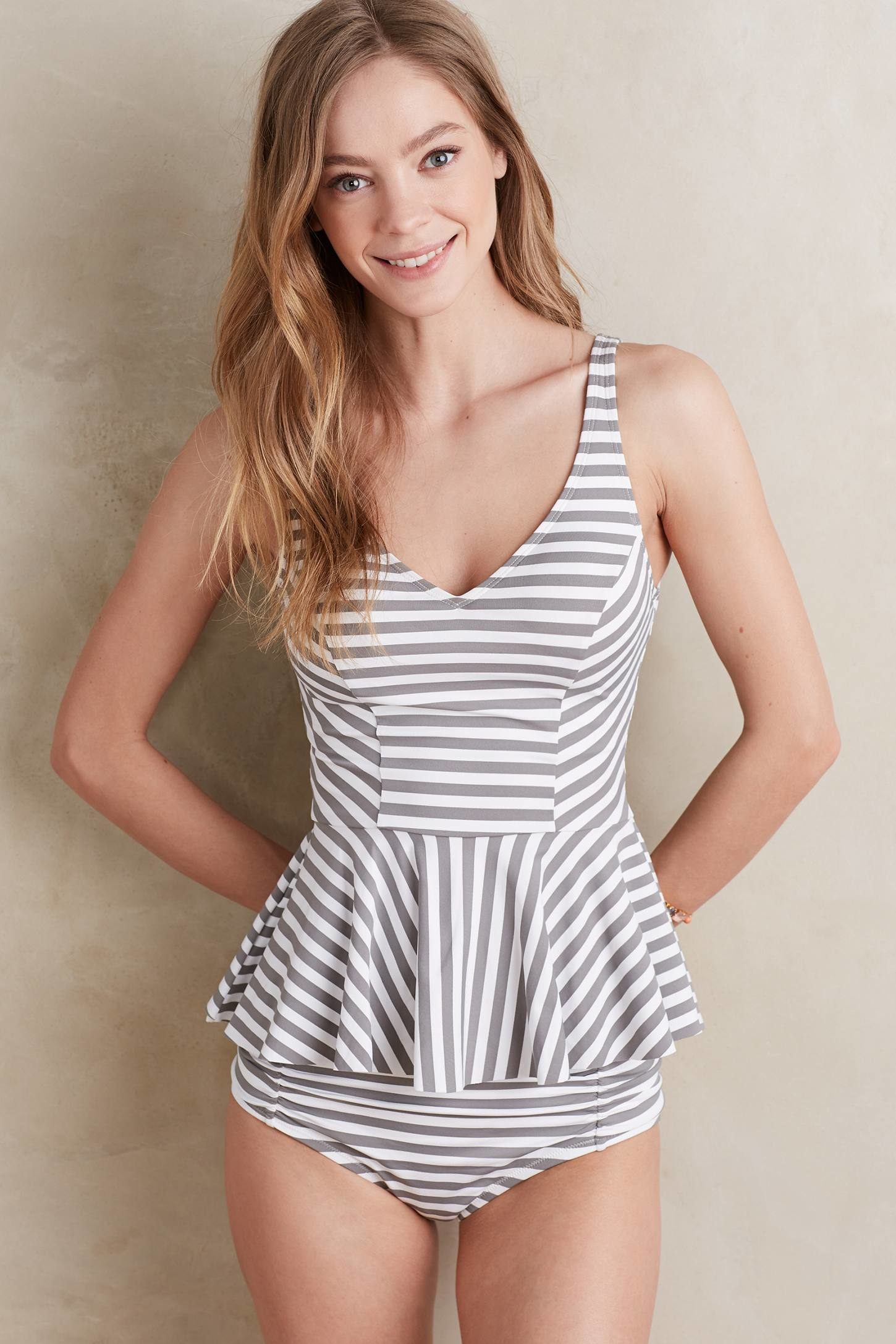 Anthropologie Scoop-back Peplum Tankini in White (simple ...