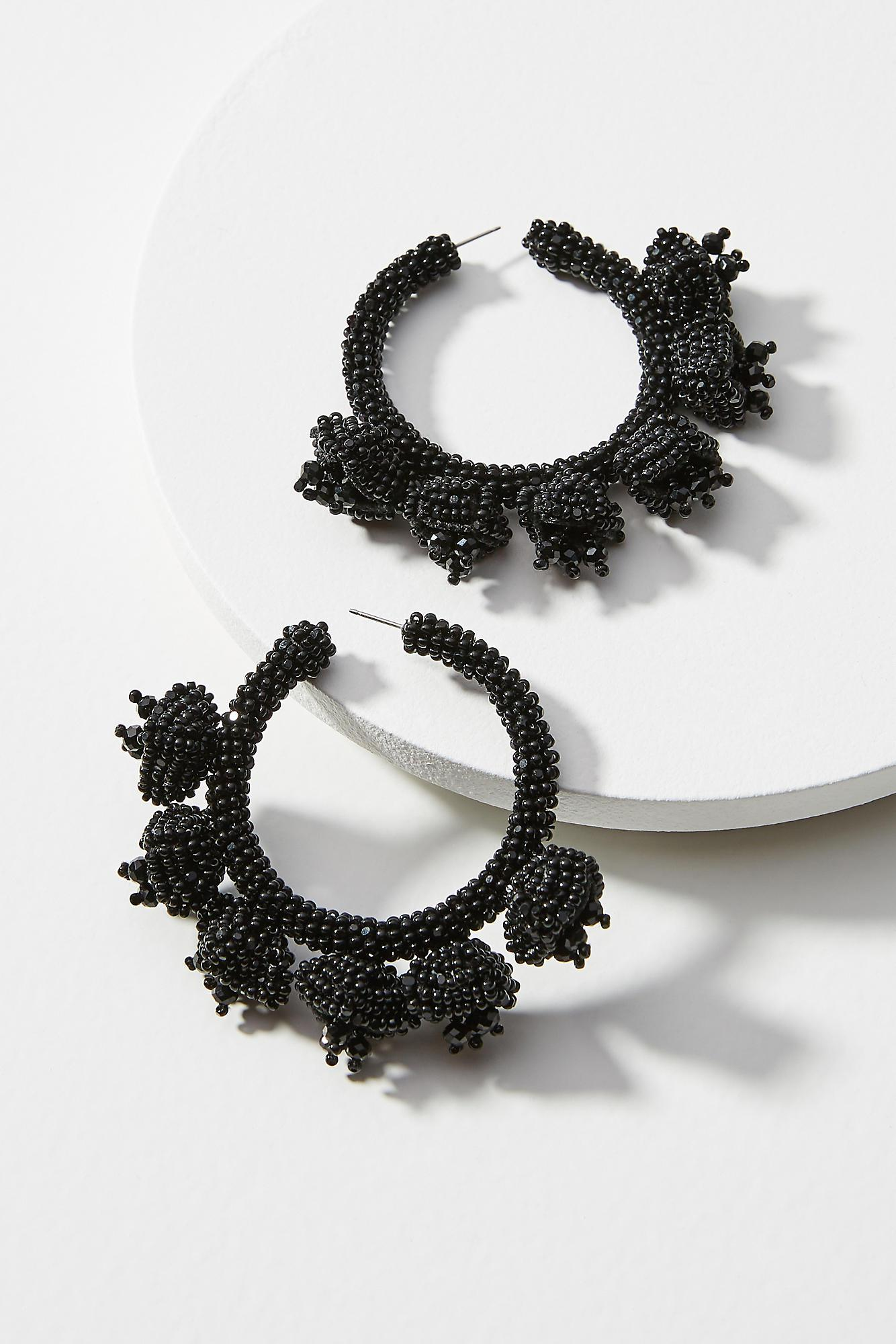 Sachin & Babi Grape Beaded Hoop Earrings
