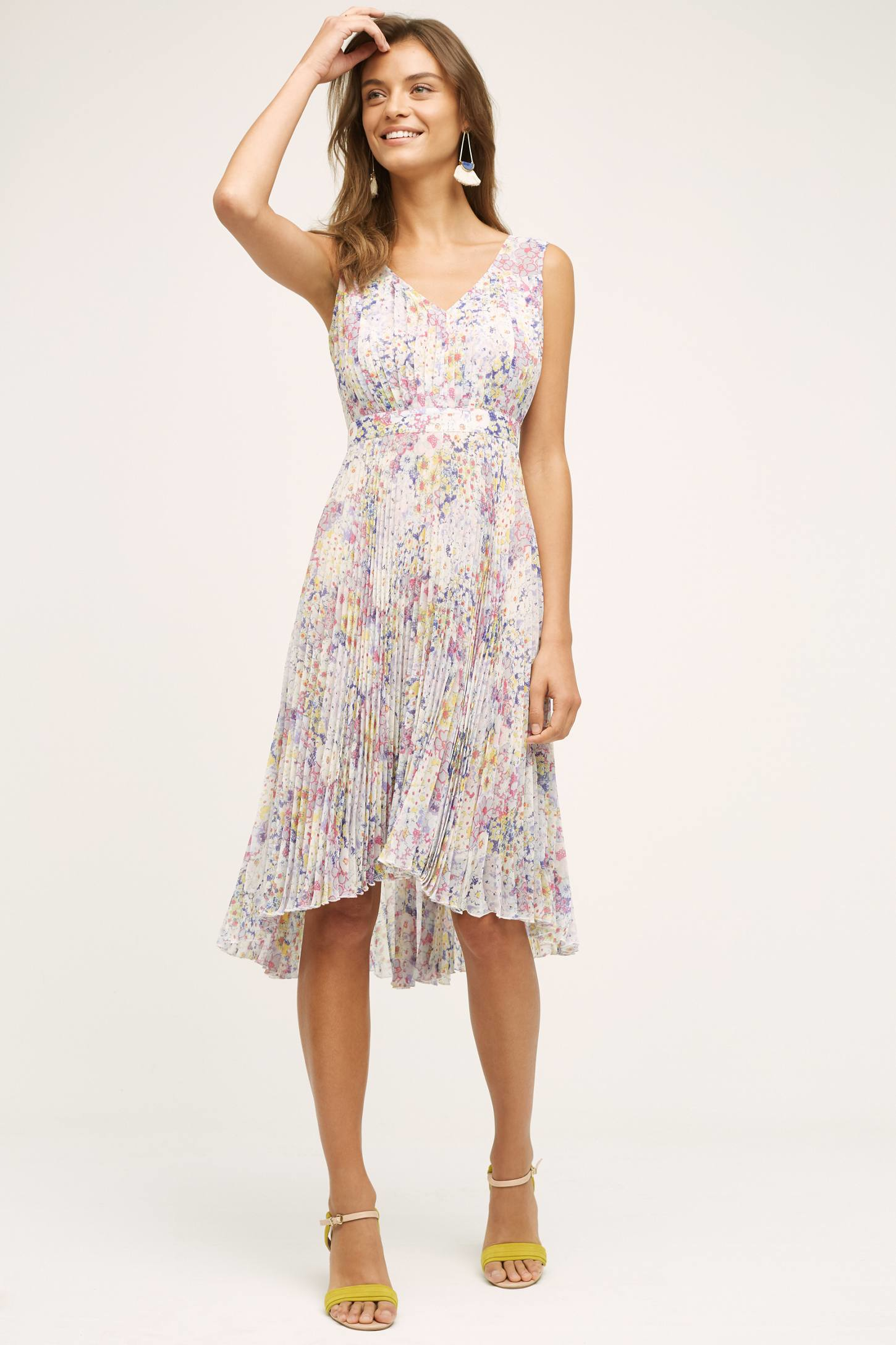 Plenty by tracy reese evanthe pleated floral dress purple for Purple summer dresses for weddings