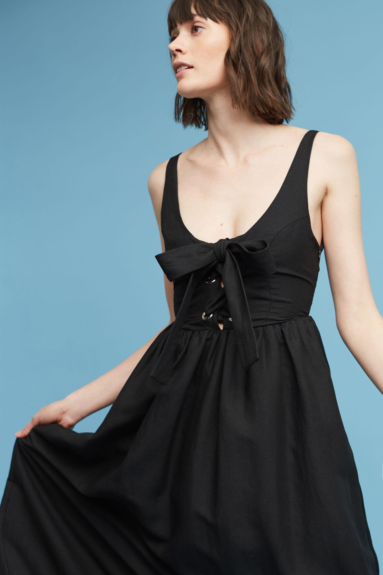Lyst - Mara Hoffman Myriam Linen Midi Dress in Black