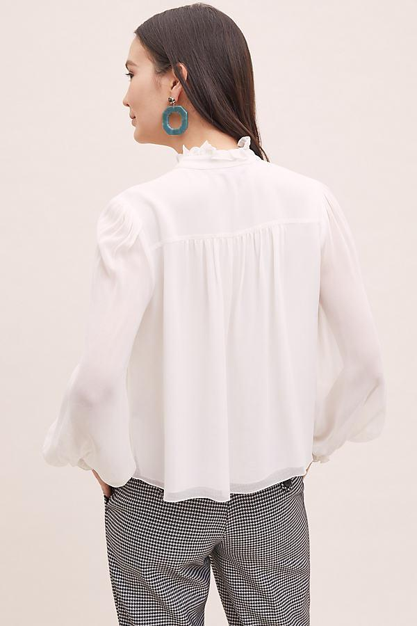 Anthropologie High Neck Victorian Blouse In White Lyst