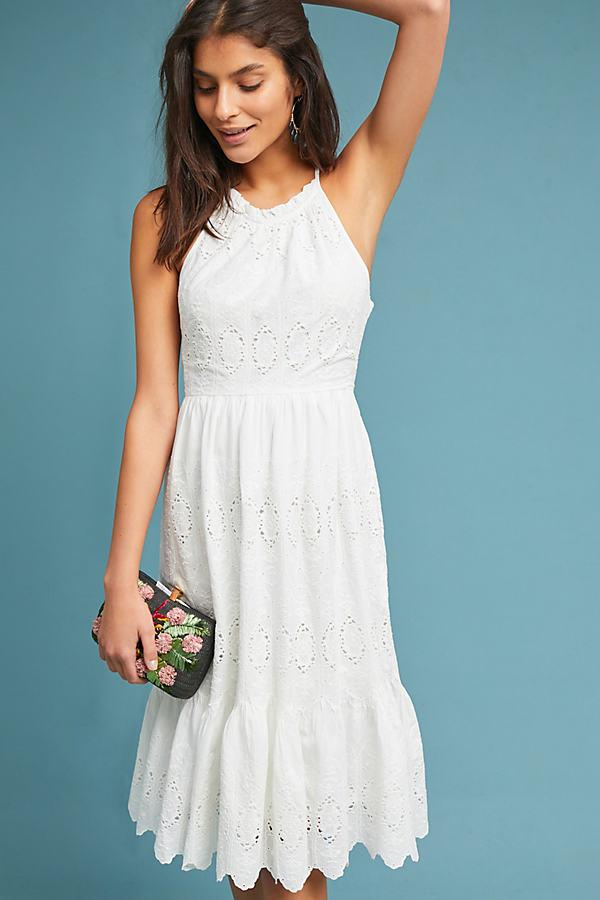 Maeve Tiered Eyelet Midi Dress in White - Save 18% - Lyst