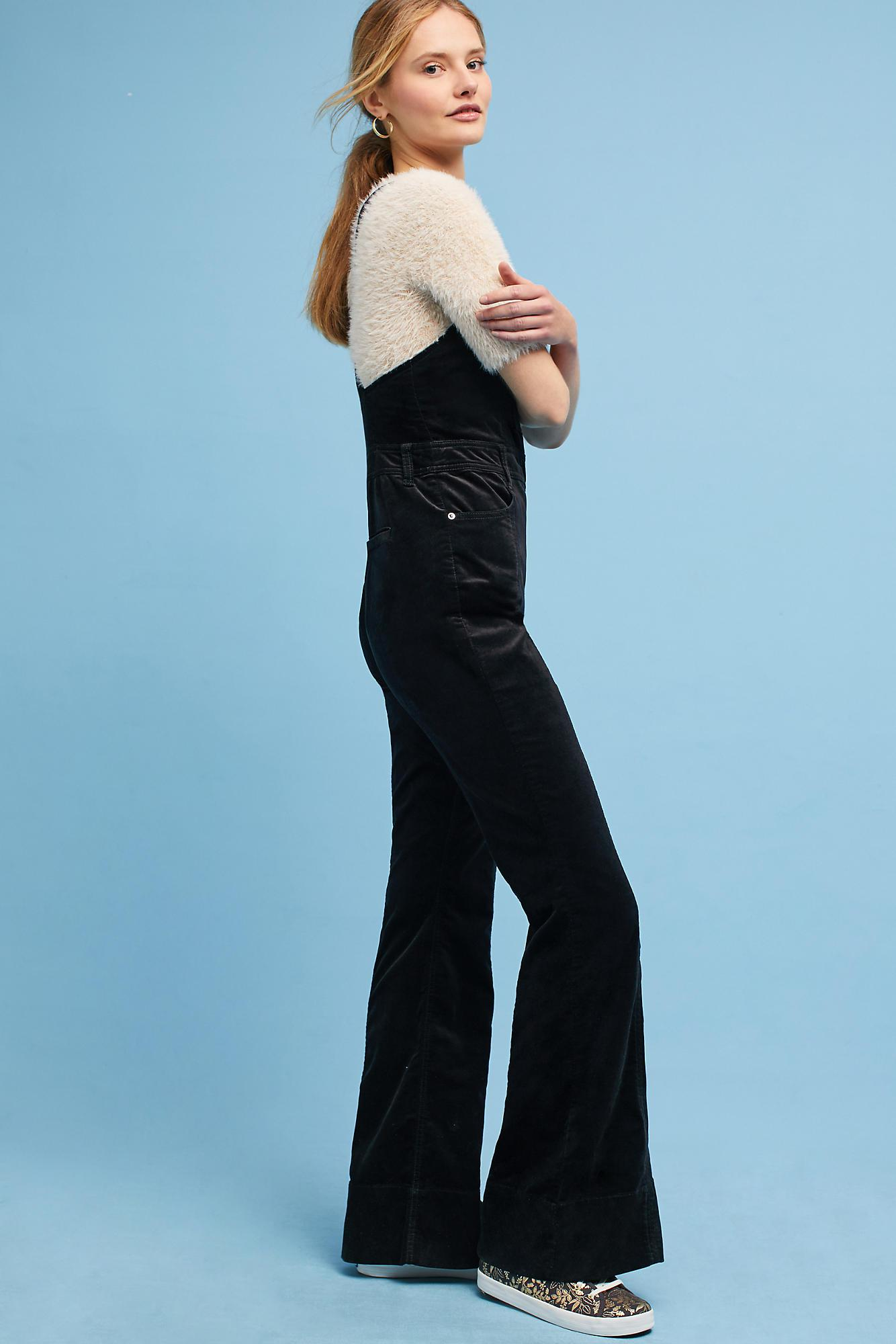 284359ab18a5 Anthropologie Julianne Velvet Jumpsuit in Black - Lyst