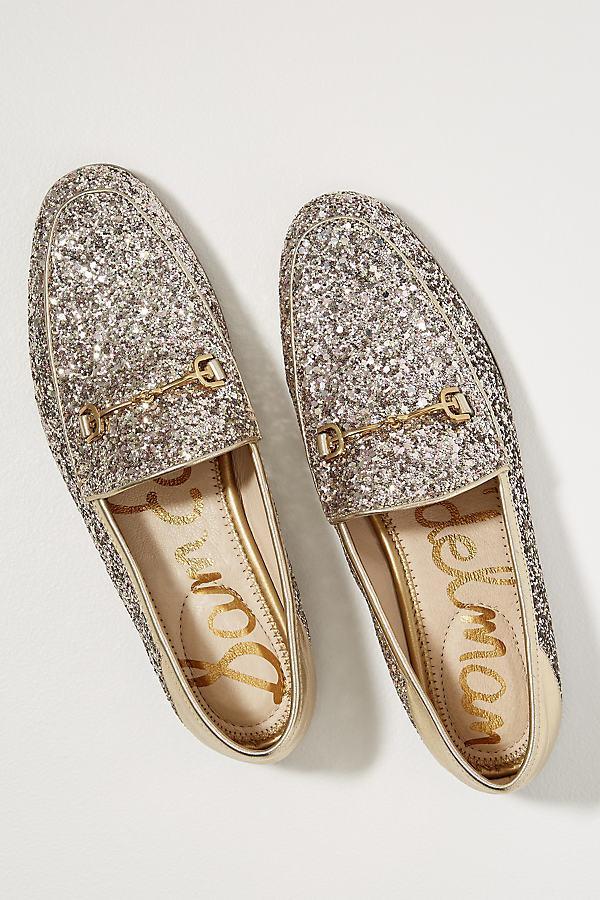 e19c539e6056a9 Sam Edelman Becca Glitter-embellished Loafers in Metallic - Lyst