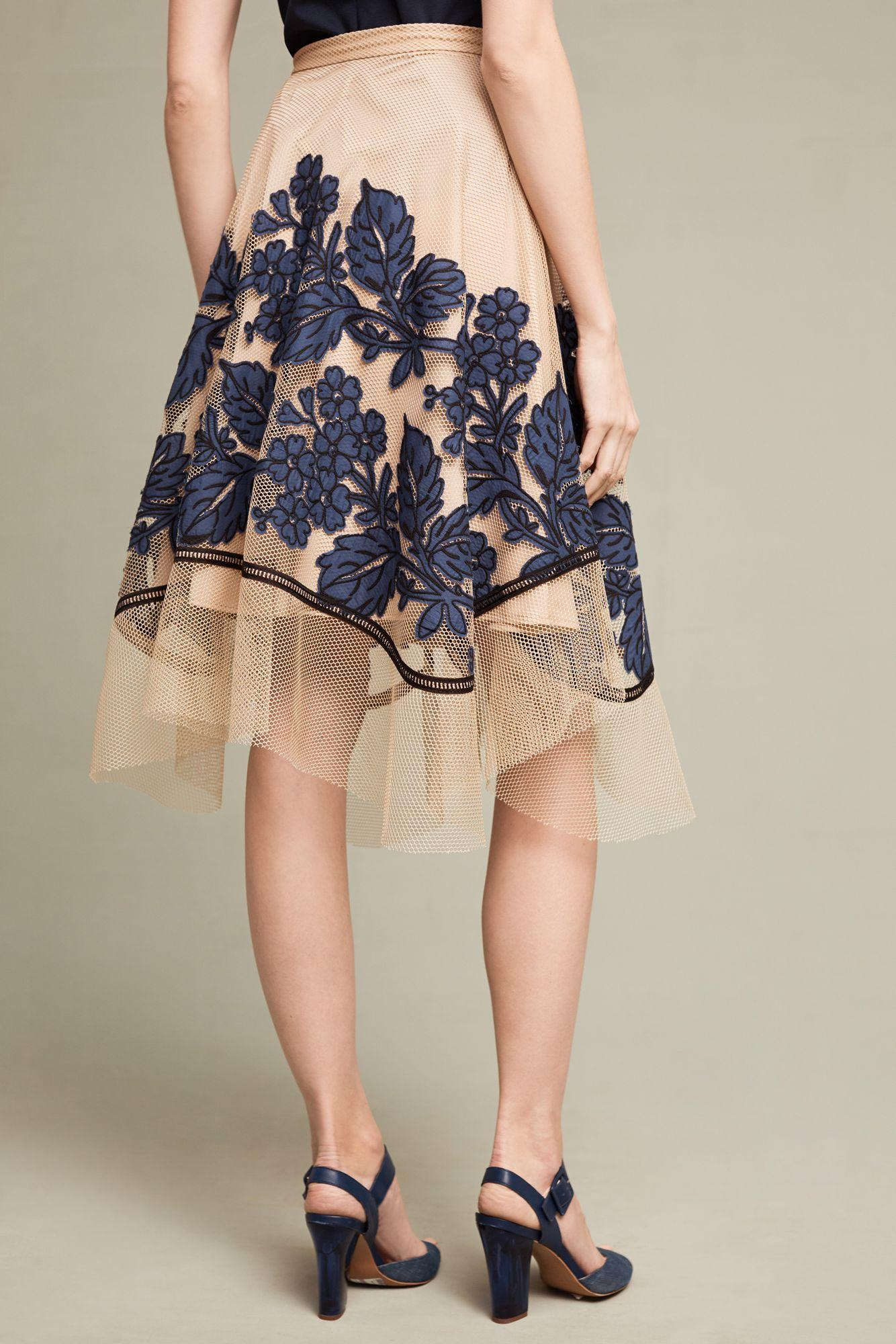 f19be1b601 Eva Franco Floral Netted Skirt in Blue - Lyst