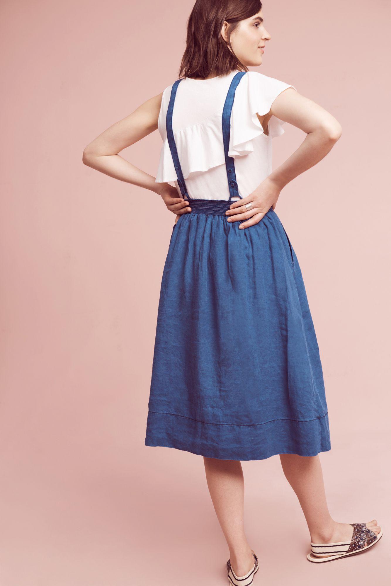Lyst Holding Horses Linen Jumper Skirt In Blue