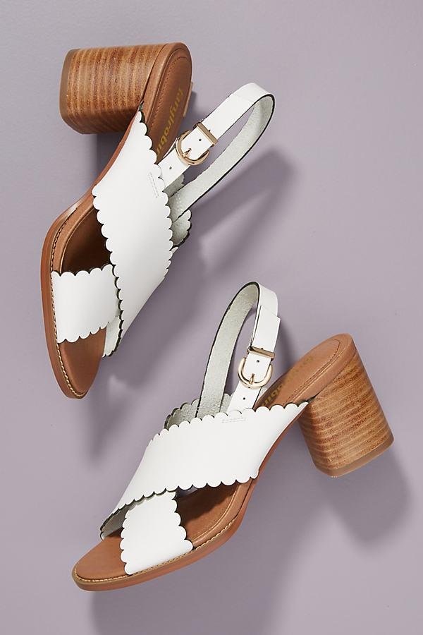 77739514545 Anthropologie Farylrobin Scalloped-leather Block Heels in White - Lyst
