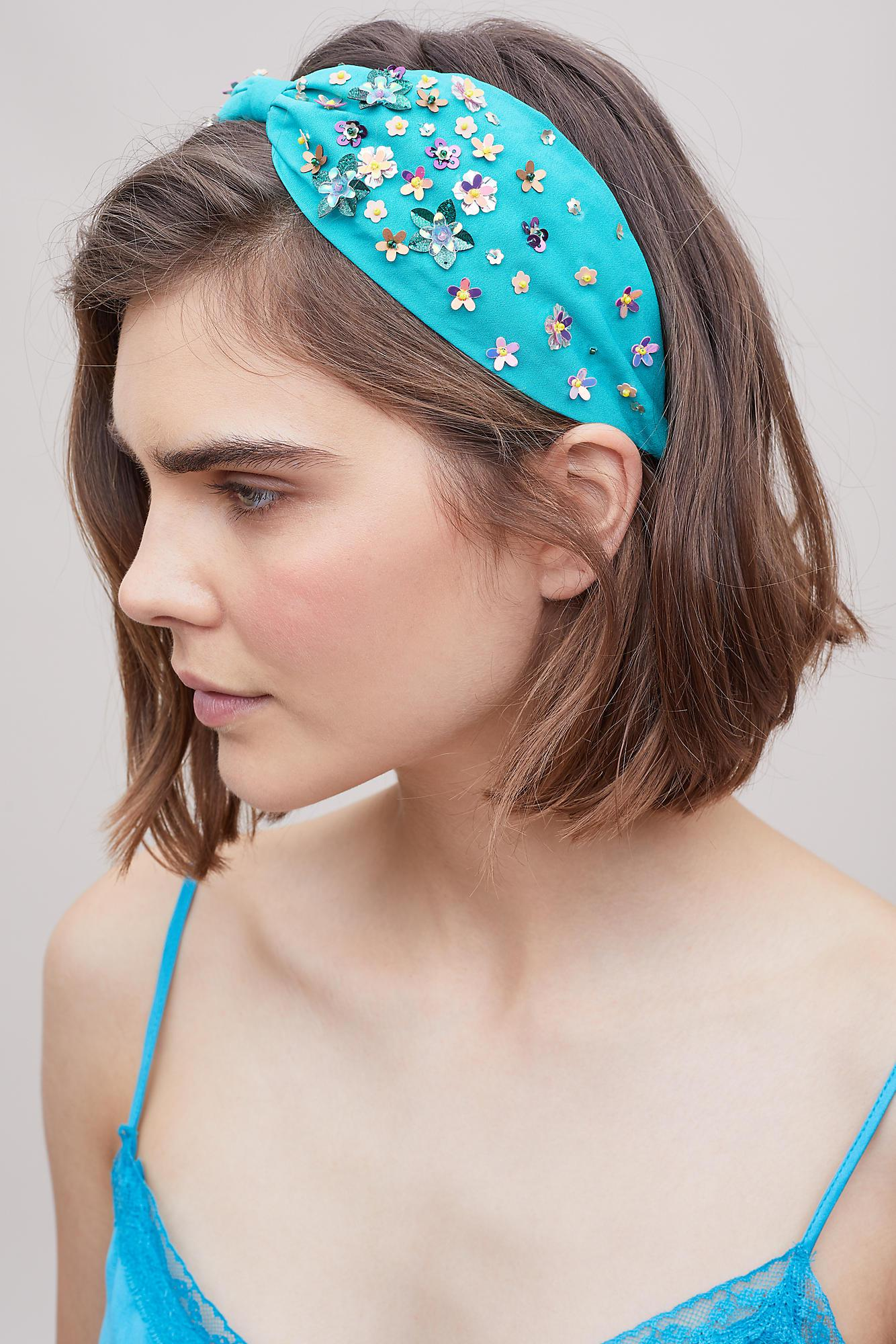 Anthropologie Floral Embellished Headband in Blue - Lyst 8274a8f8321