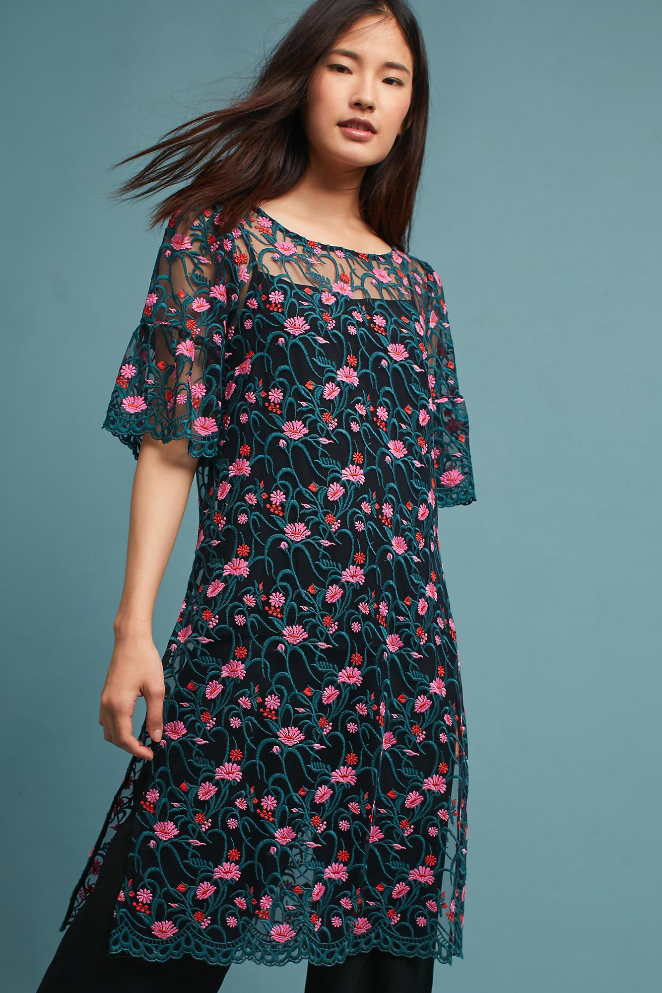 Lyst - Anthropologie Floral Longline Tunic in Blue