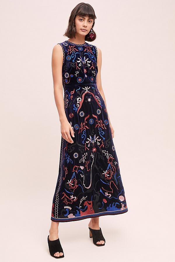 8d645da713cf Anthropologie Velvet Embroidered Dress in Black - Lyst