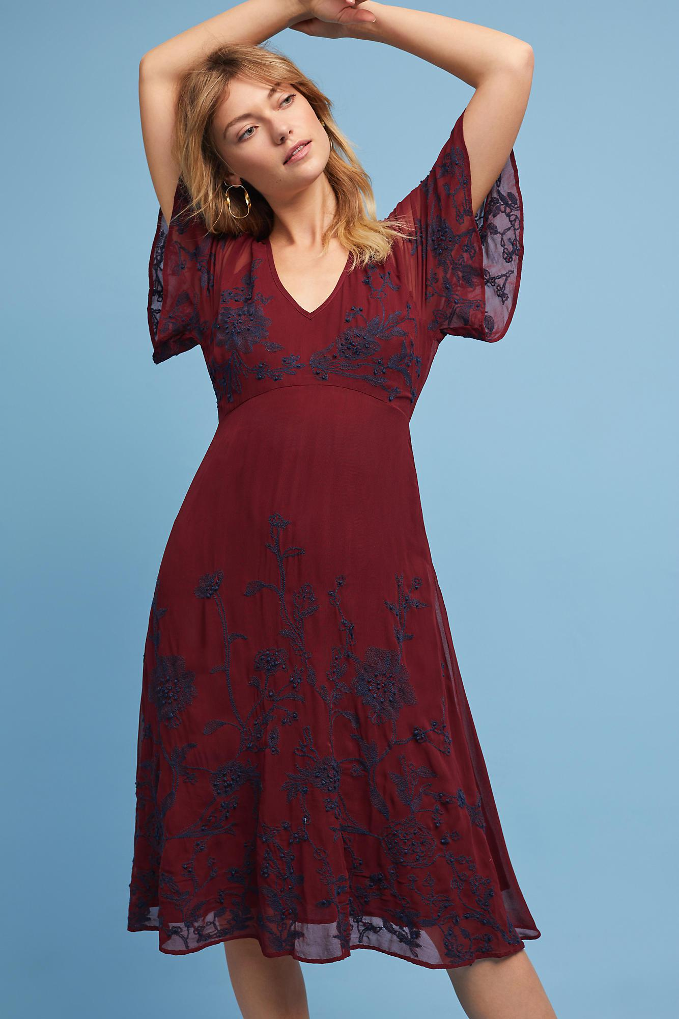 a3feed2205d3 Maeve Francoise Embroidered Dress in Red - Lyst