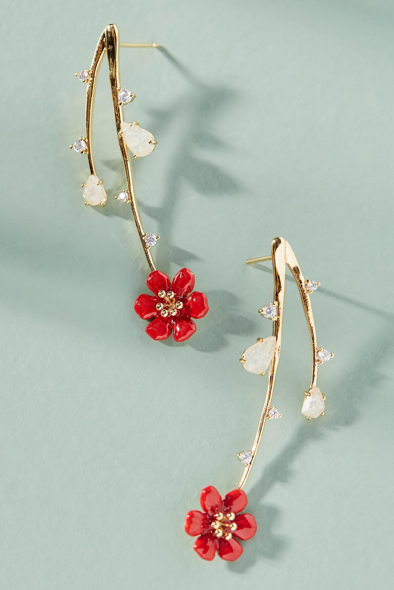 Anthropologie Cascading Flowers Drop Earrings uQISIJ54o