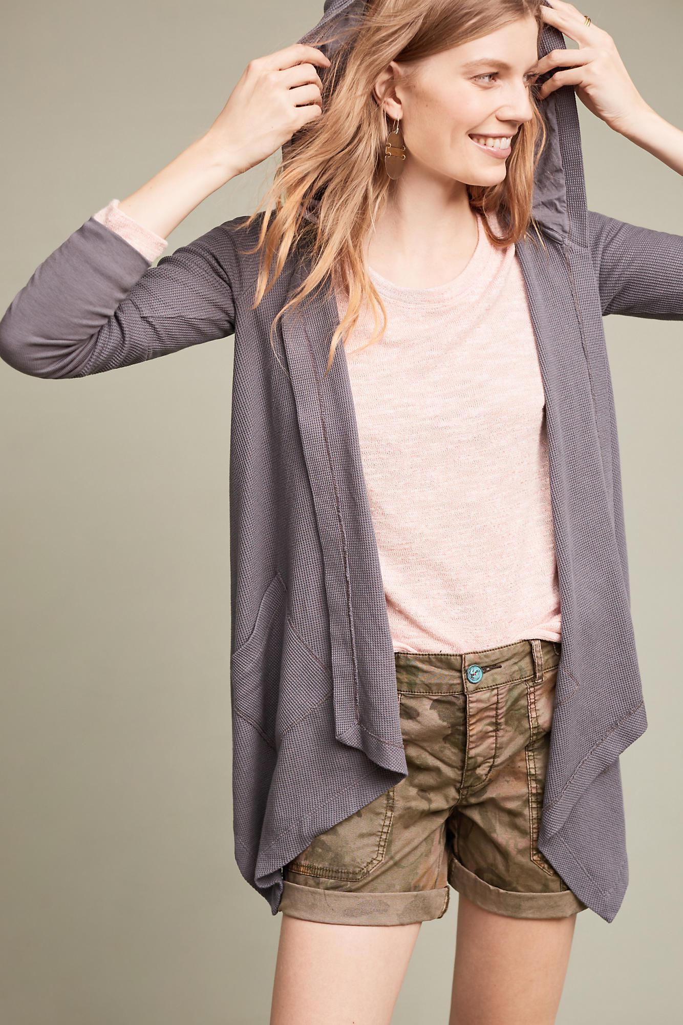 Splendid Hooded Thermal Cardigan in Gray | Lyst