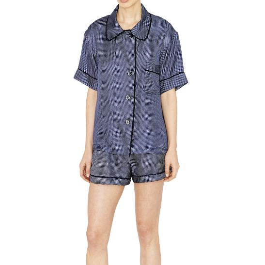 Lyst - Araks Shelby Pajama Top Sea Dot Silk Monogram in Blue 1003e5a5d