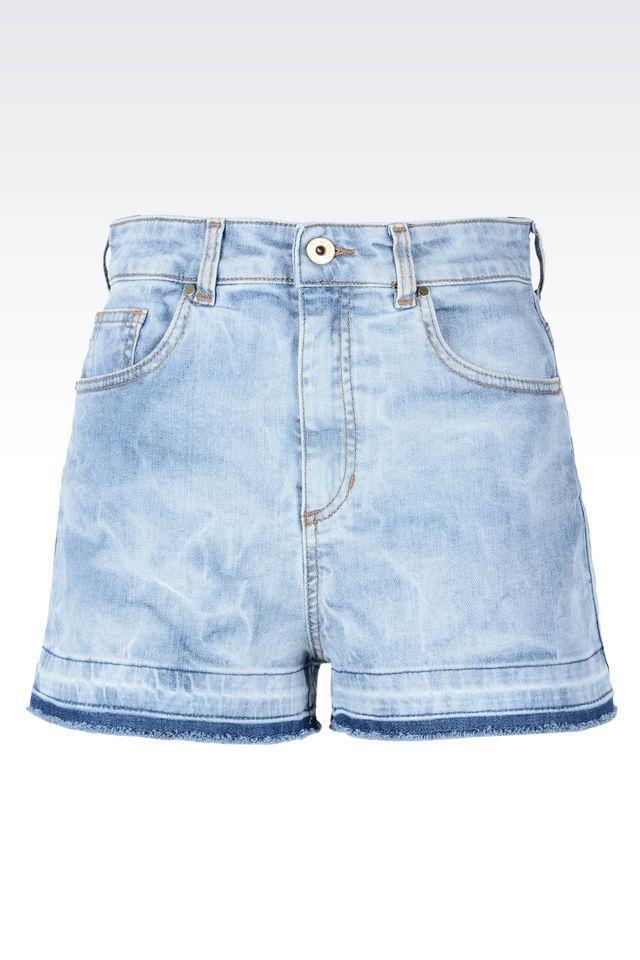 Emporio armani Denim Shorts in Blue | Lyst