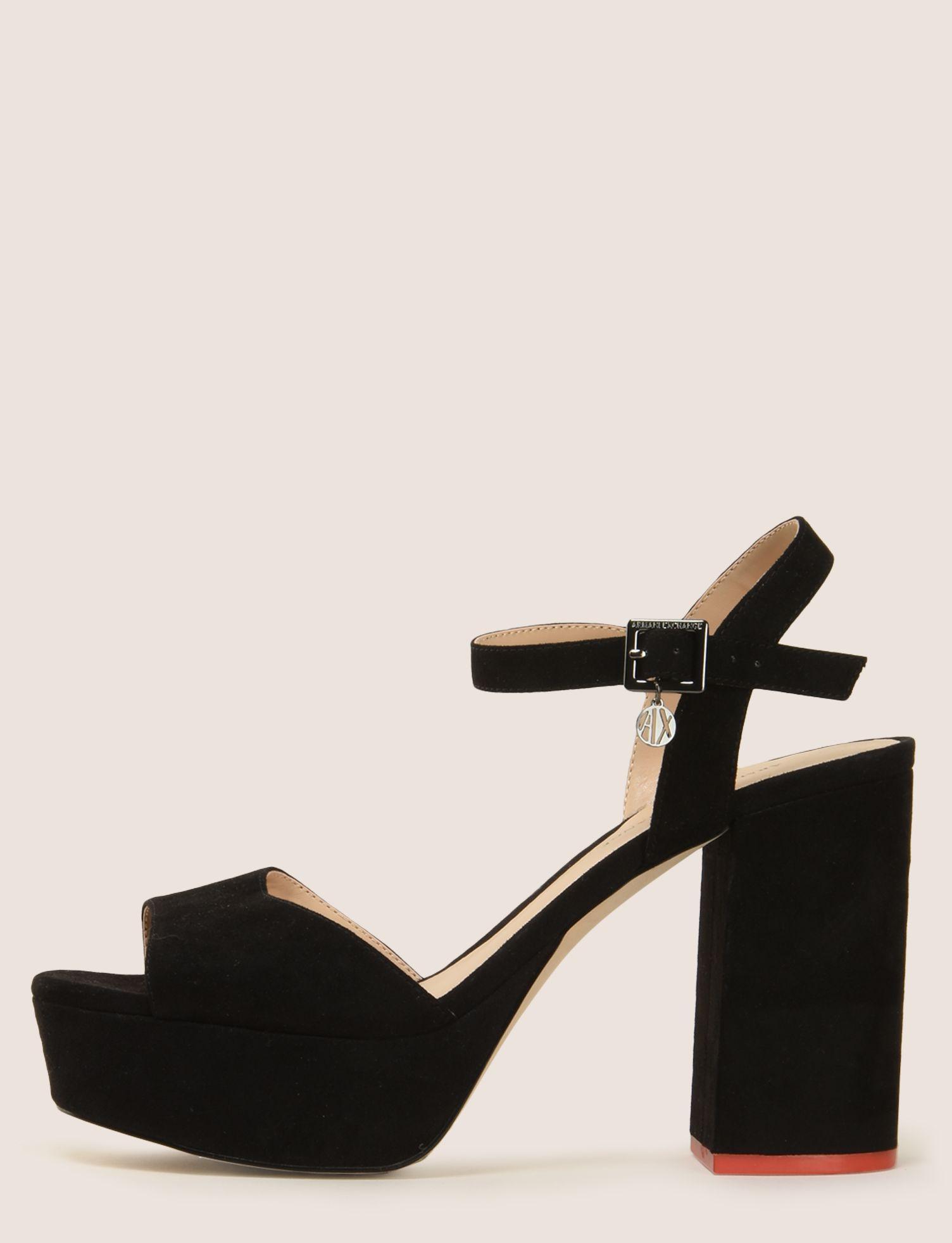 2f763968c49 Lyst - Armani Exchange Faux-suede Platform Sandals in Black