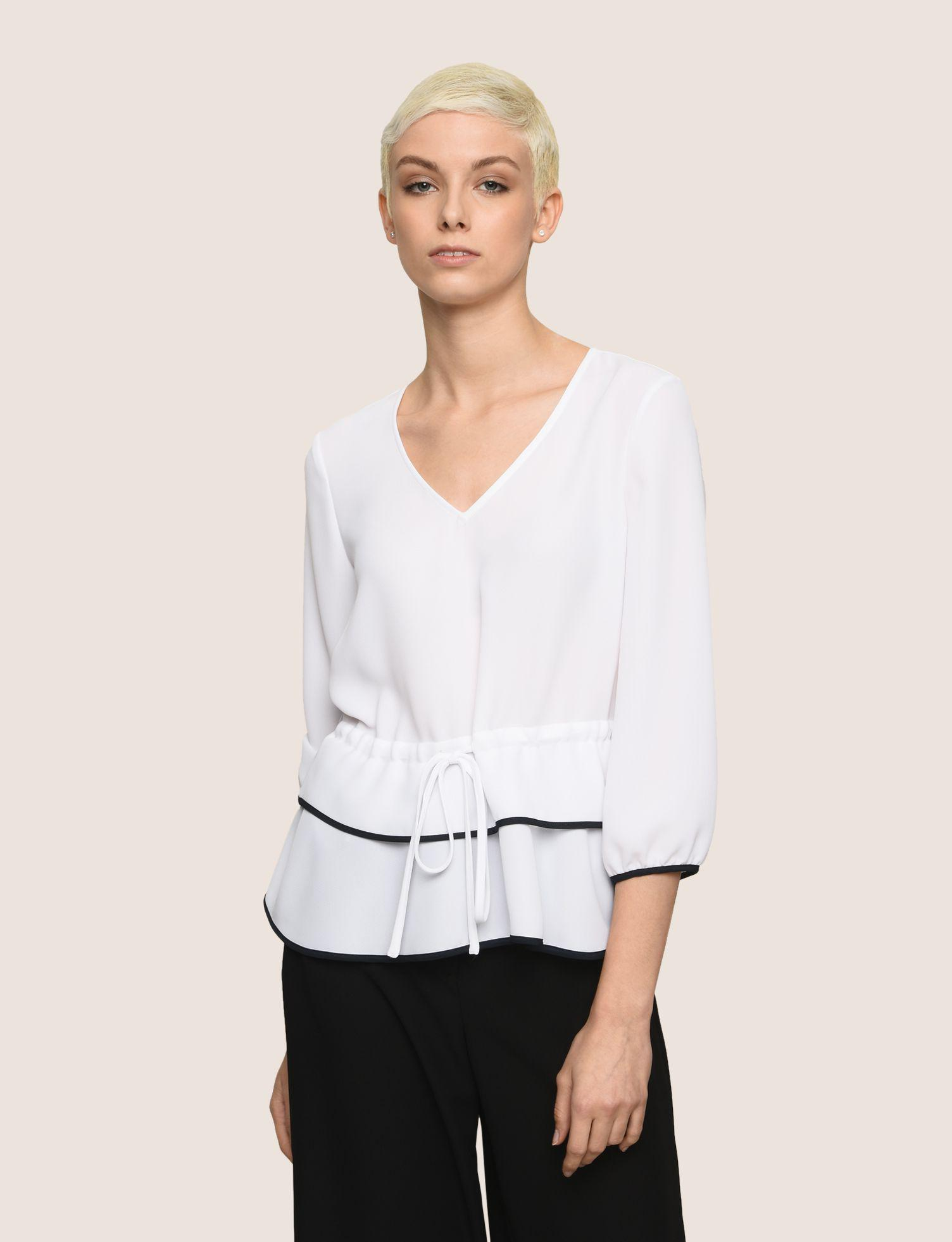 03faef451f1 Lyst - Armani Exchange Cinched-waist Peplum Blouse in White