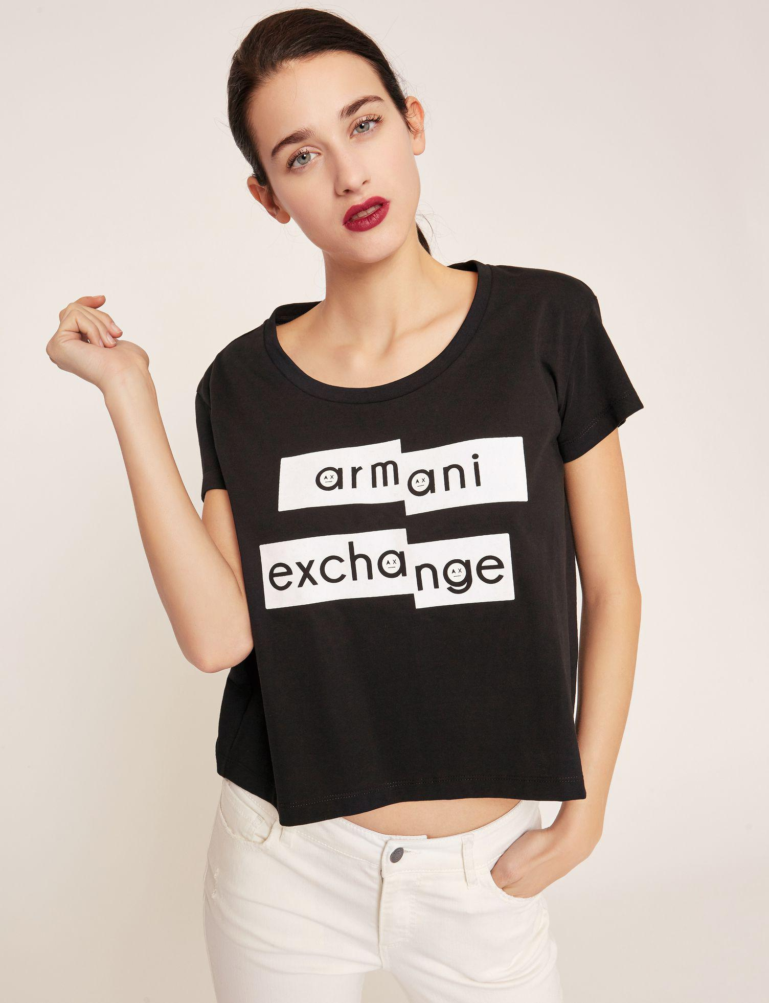 a95dcbb6665892 Lyst - Armani Exchange Fragmented Emoji Crop in Black