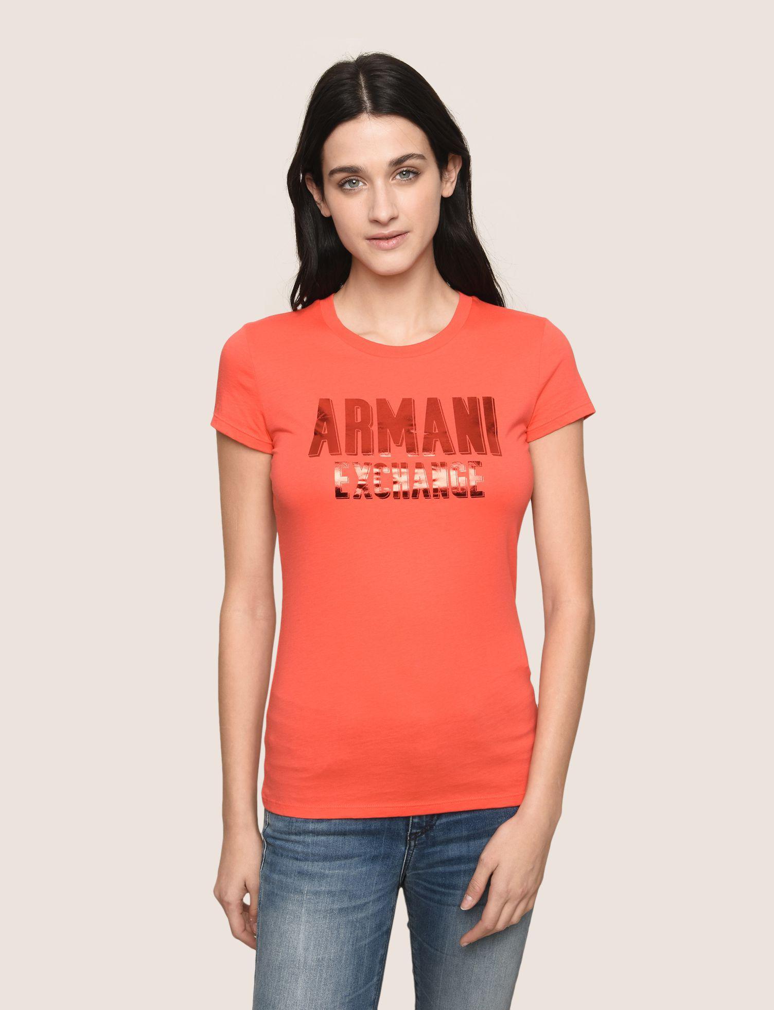 4eefad42c9c9a Lyst - Armani Exchange Tonal Glitter Block Tee in Red