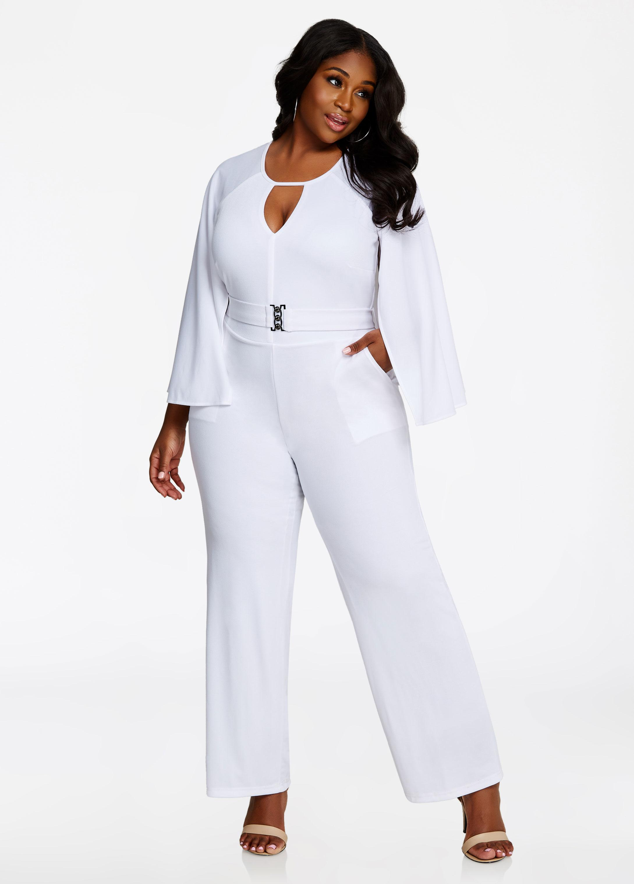 6e83f60bde0f Lyst - Ashley Stewart Cape Back Belted Jumpsuit in White