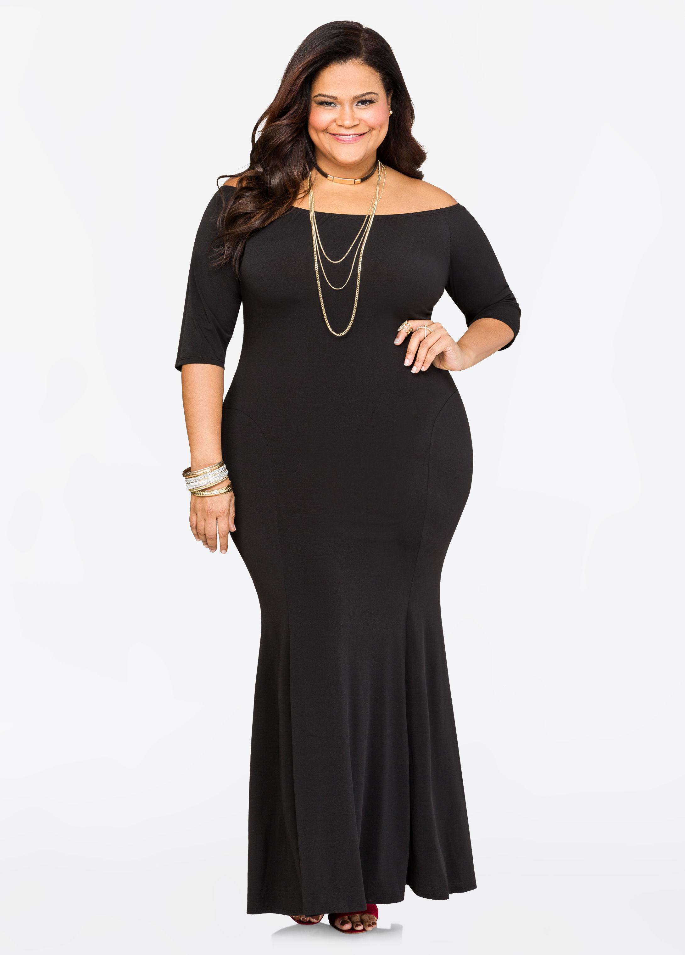 Lyst - Ashley Stewart Off-shoulder Mermaid Maxi Dress in Black