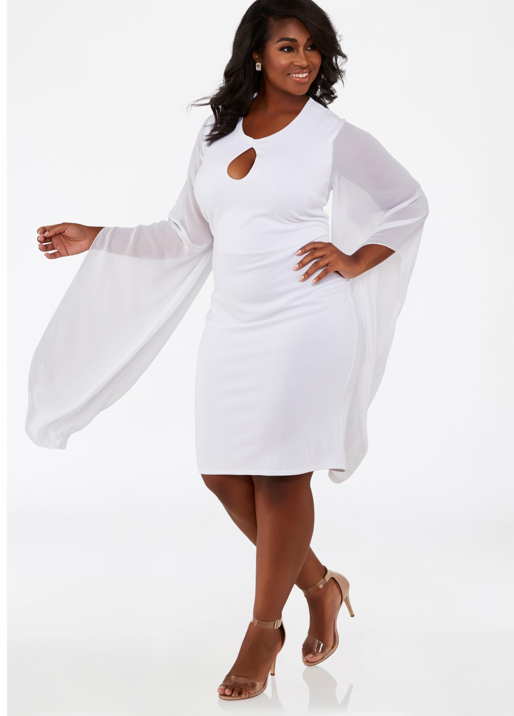 a4d0d08121d Lyst - Ashley Stewart Plus Size Chiffon Sleeve Keyhole Dress in White