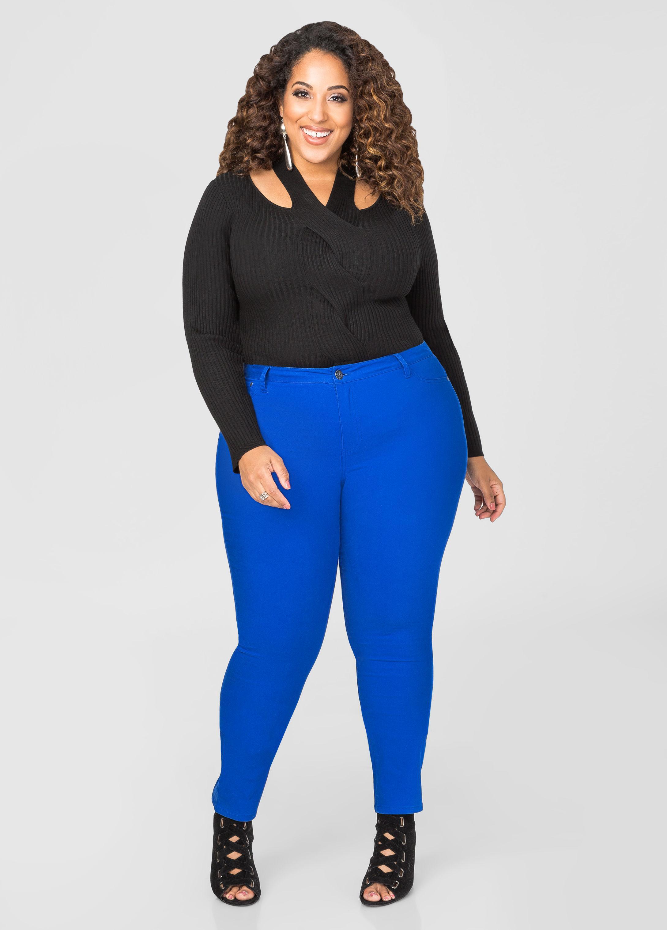 1bba2164a09 Lyst - Ashley Stewart Ultra Soft Jegging in Blue
