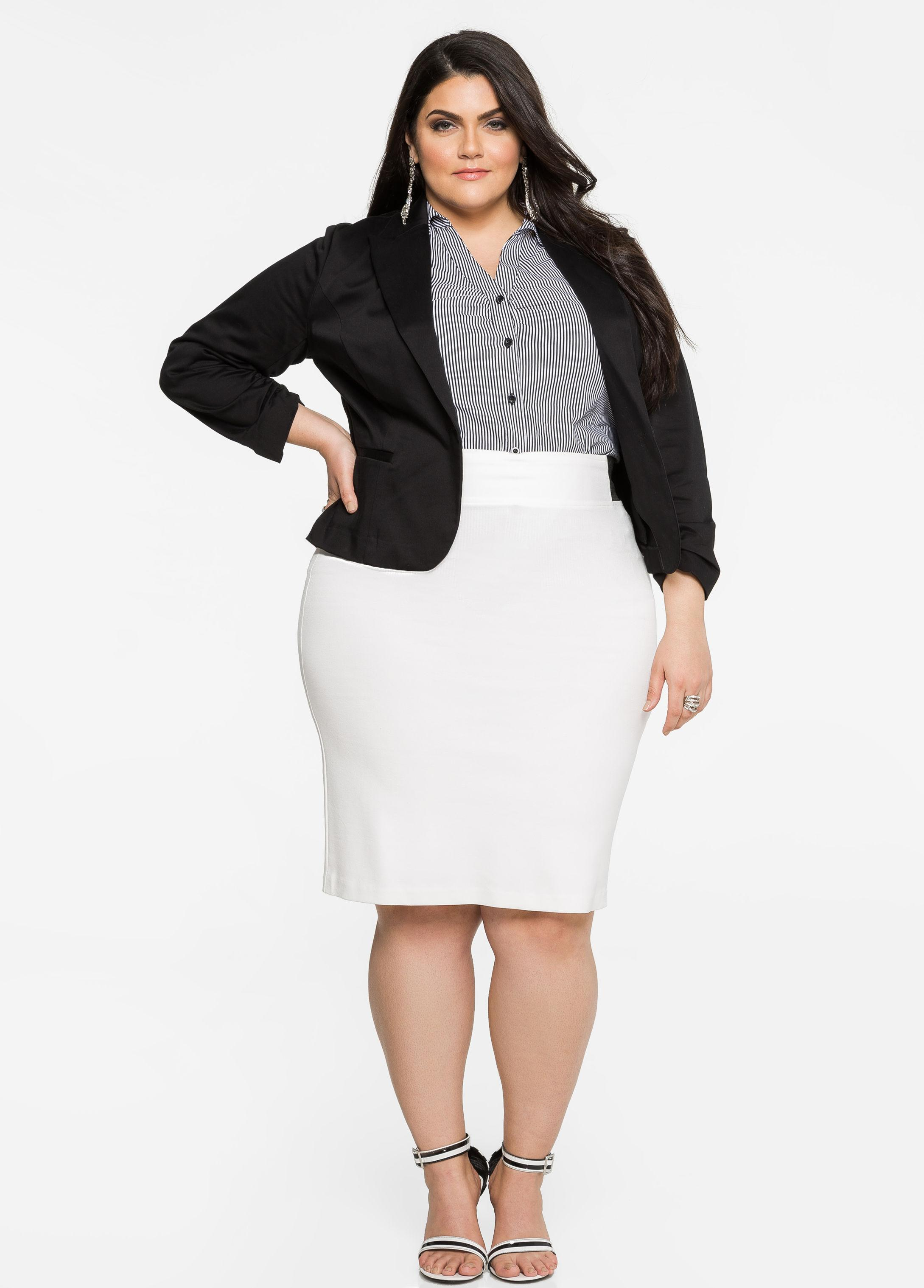 Ashley Stewart Ponte Pencil Skirt In White Lyst