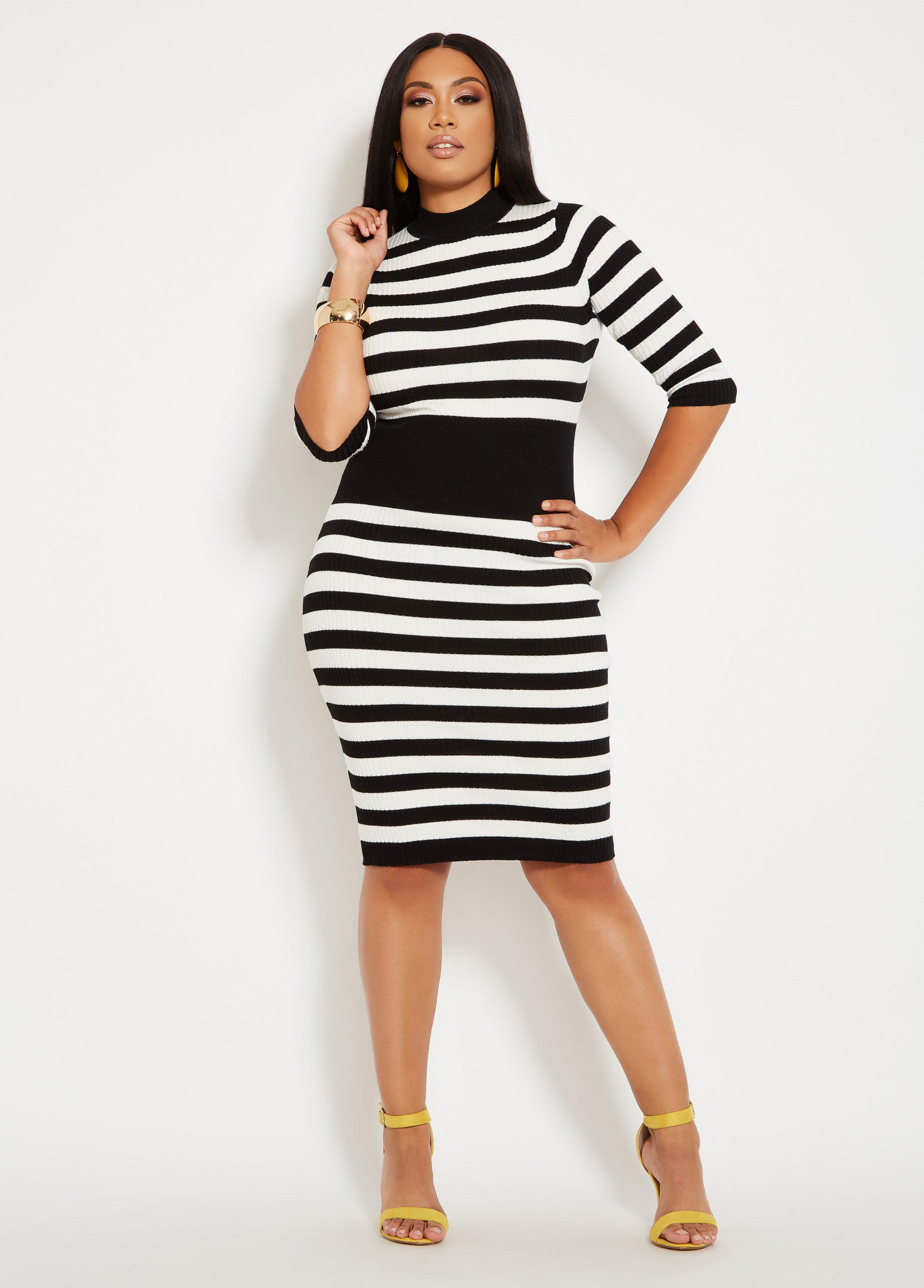 Lyst Ashley Stewart Plus Size Mock Neck Color Block Sweater Dress