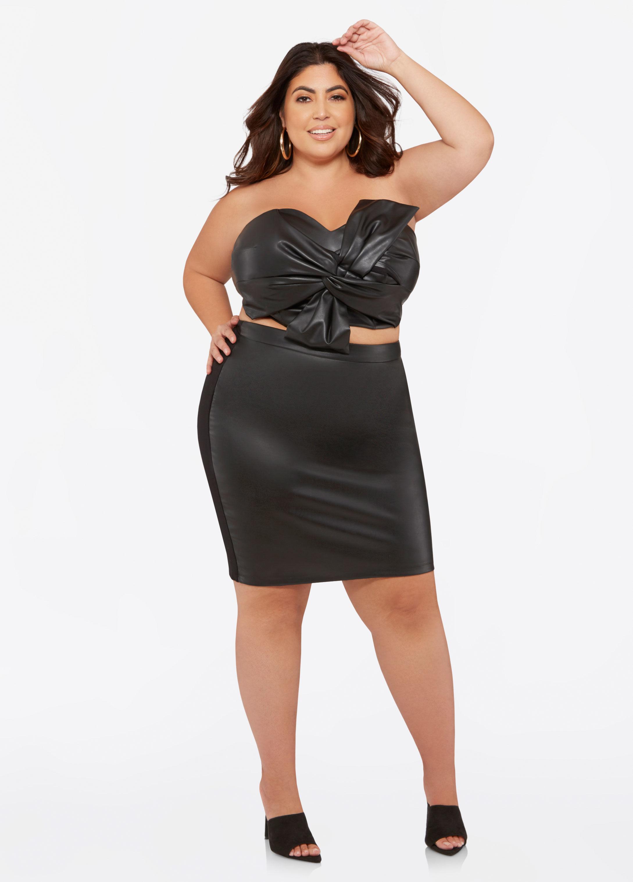 7de7285082cc6 Lyst - Ashley Stewart Plus Size Faux Leather Front Pencil Skirt in Black