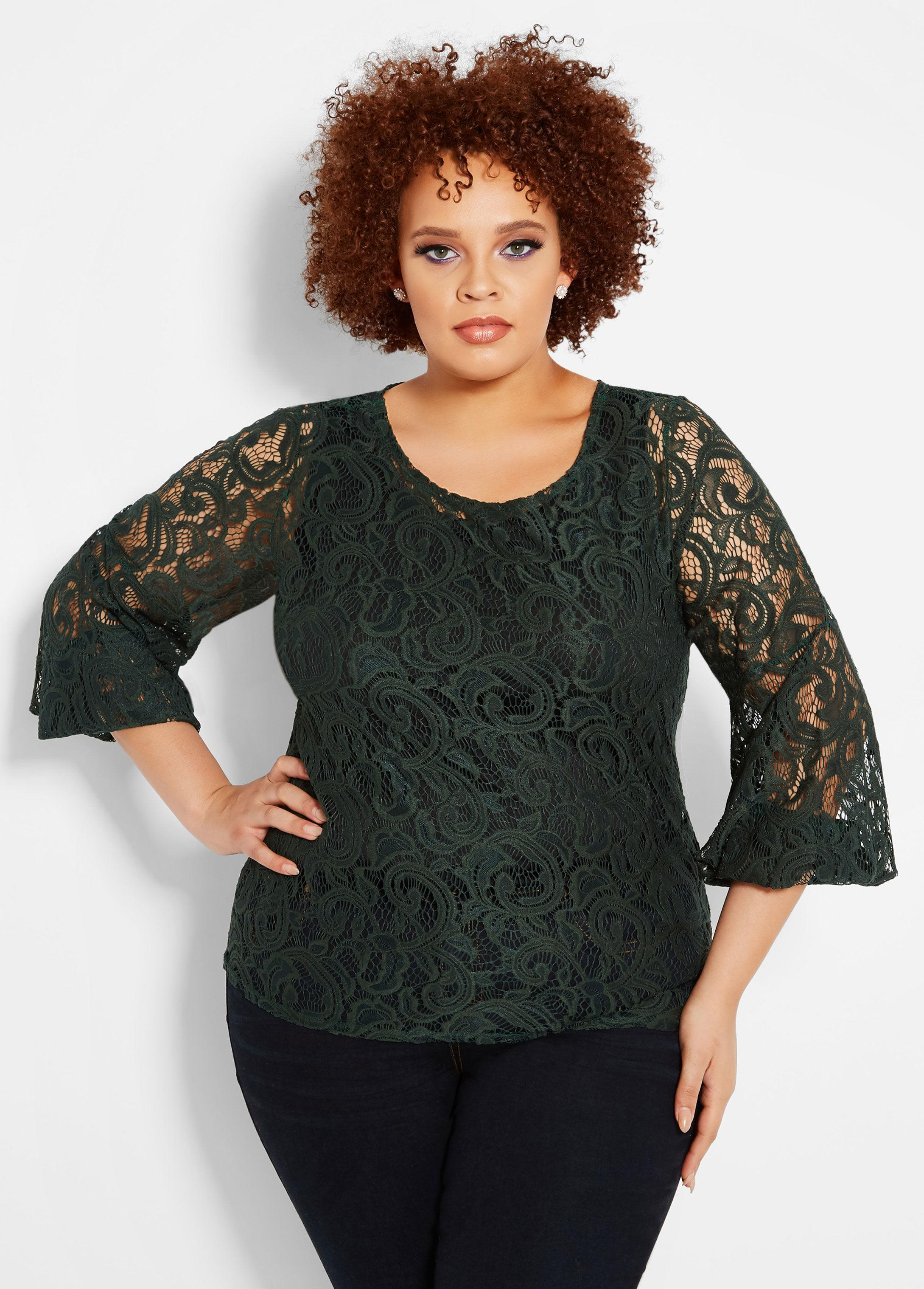 954c8bcf686 Lyst - Ashley Stewart Plus Size Sheer Lace Bubble Sleeve Top