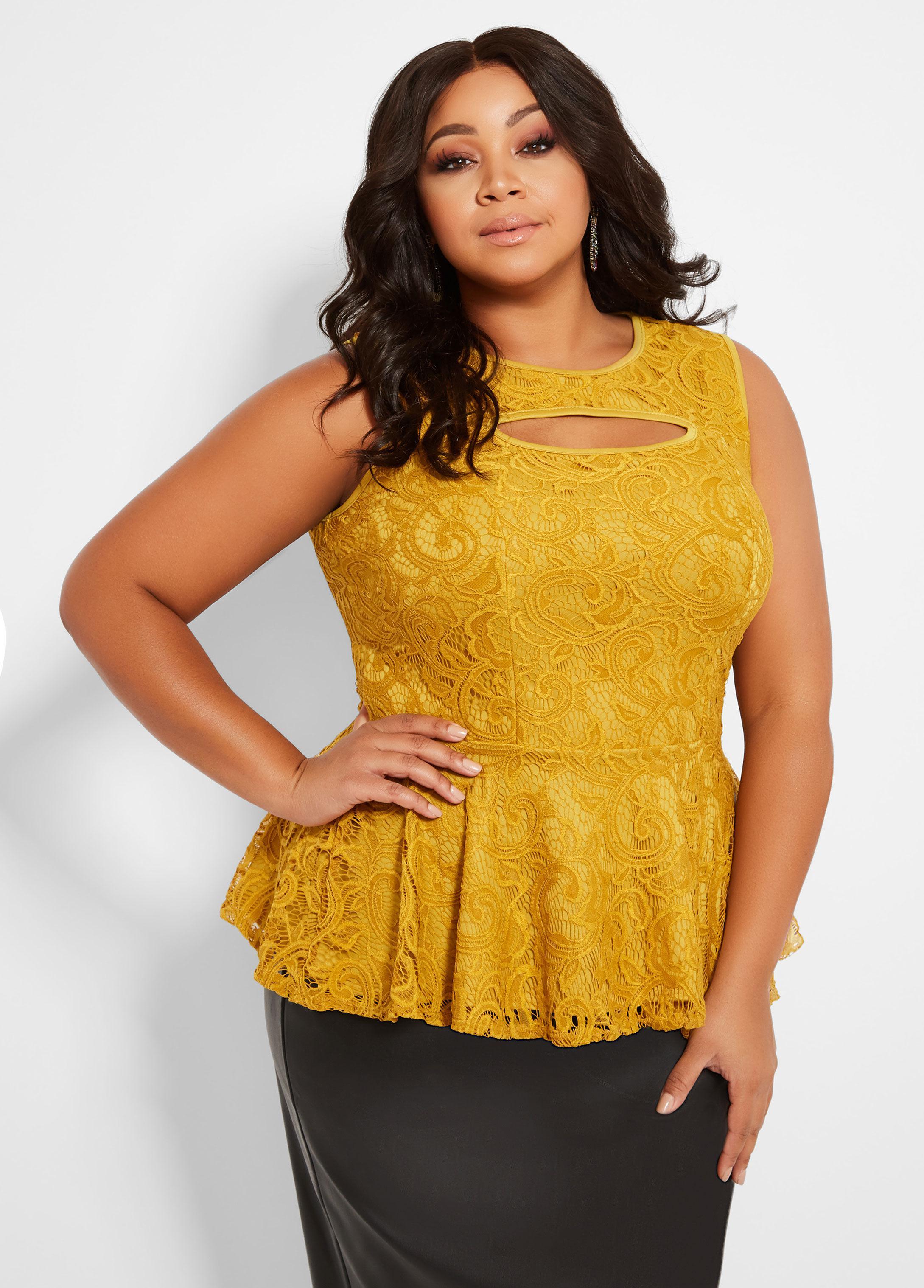 9651ebf21c7 Ashley Stewart. Women s Metallic Plus Size Sleeveless Lace Peekaboo Peplum  Top