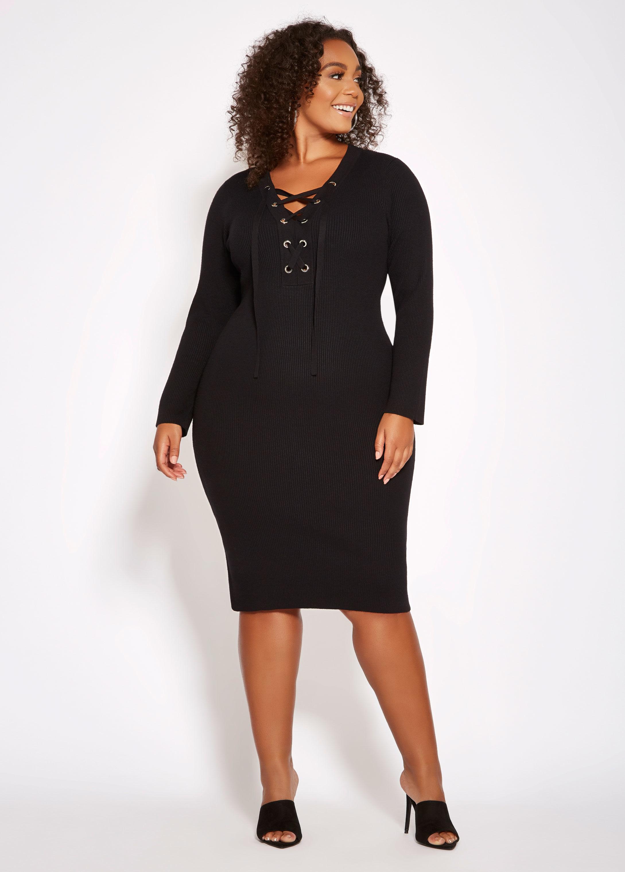 aa9edb8c292 Lyst - Ashley Stewart Plus Size Lace Up Ribbed Sweater Dress in Black