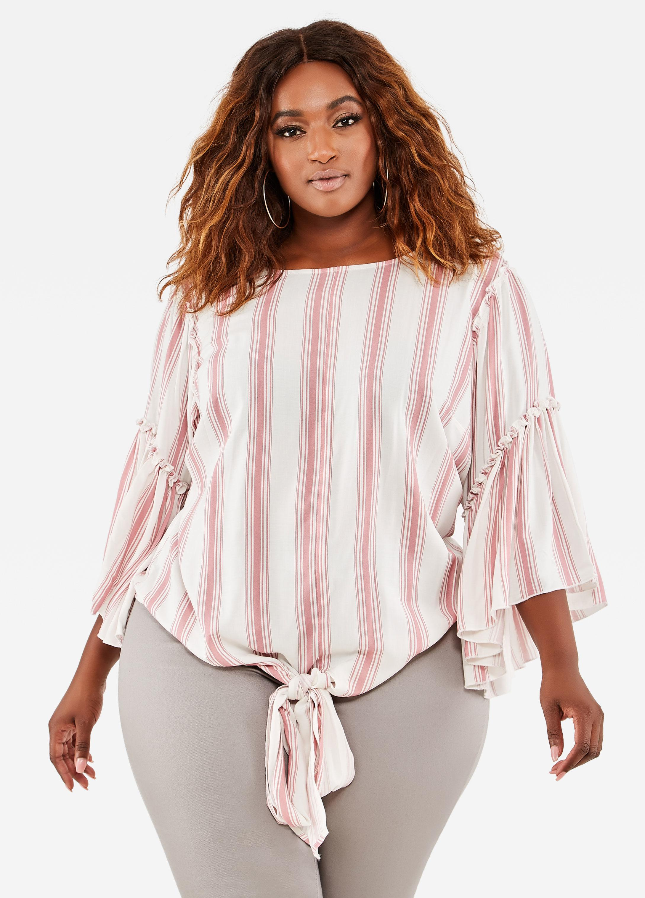 fb8d522afe389 Lyst - Ashley Stewart Plus Size Striped Tie Front Top in Pink