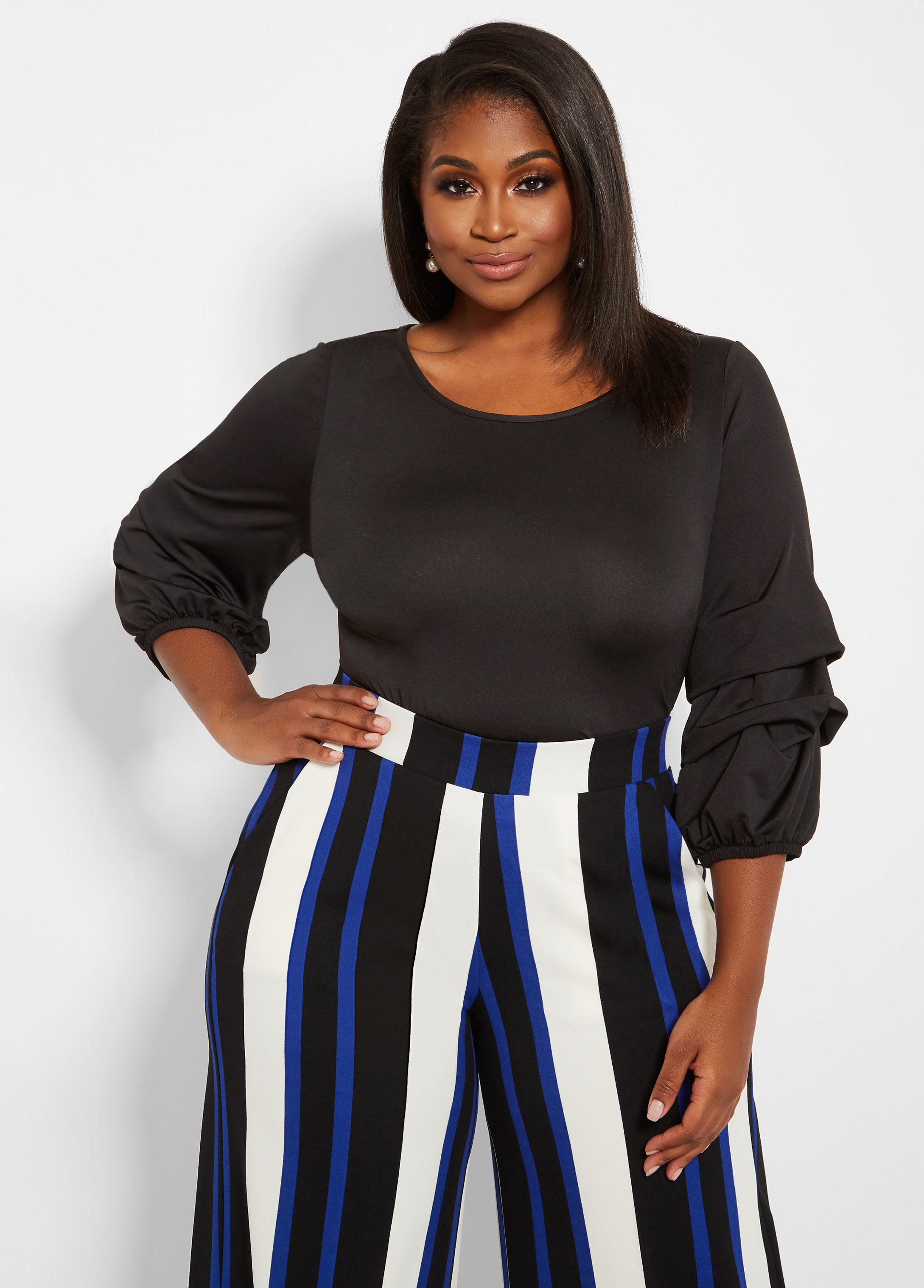 ad73cb5130b Lyst - Ashley Stewart Plus Size Multi Tiered Sleeve Top in Black