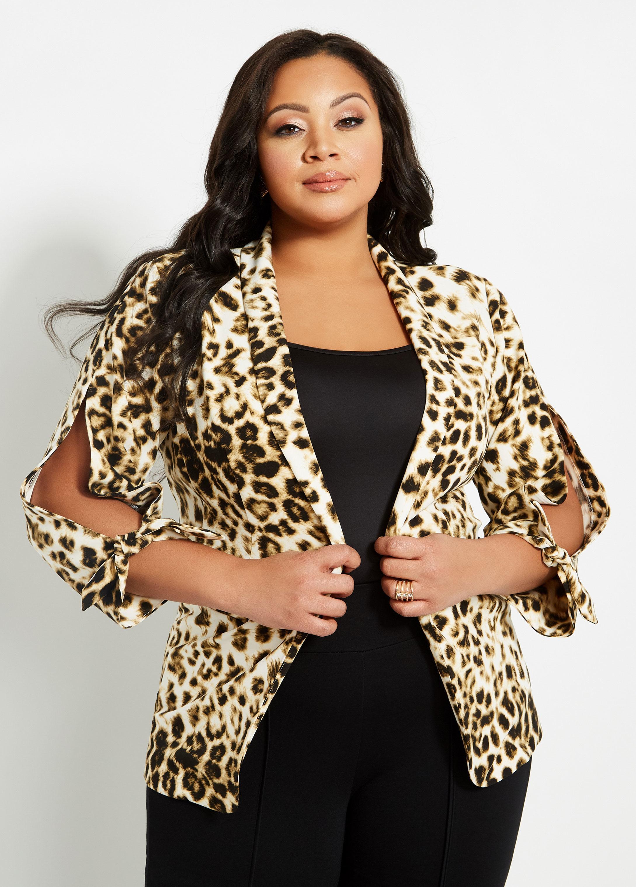 d849201f47e Lyst - Ashley Stewart Plus Size Leopard Print Tie Sleeve Jacket in Black