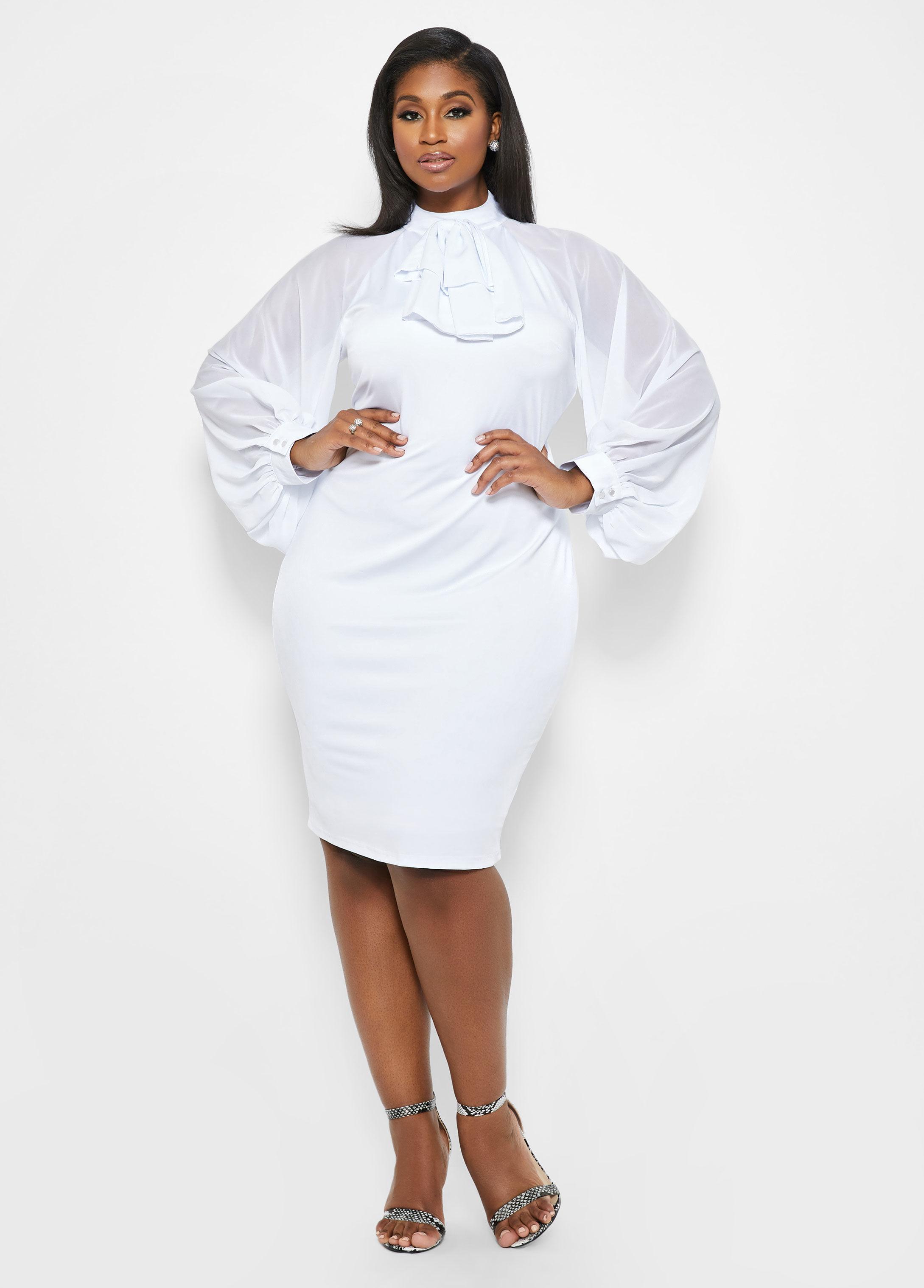 1f1cfd9e79 Lyst - Ashley Stewart Plus Size Chiffon Balloon Sleeve Dress in White