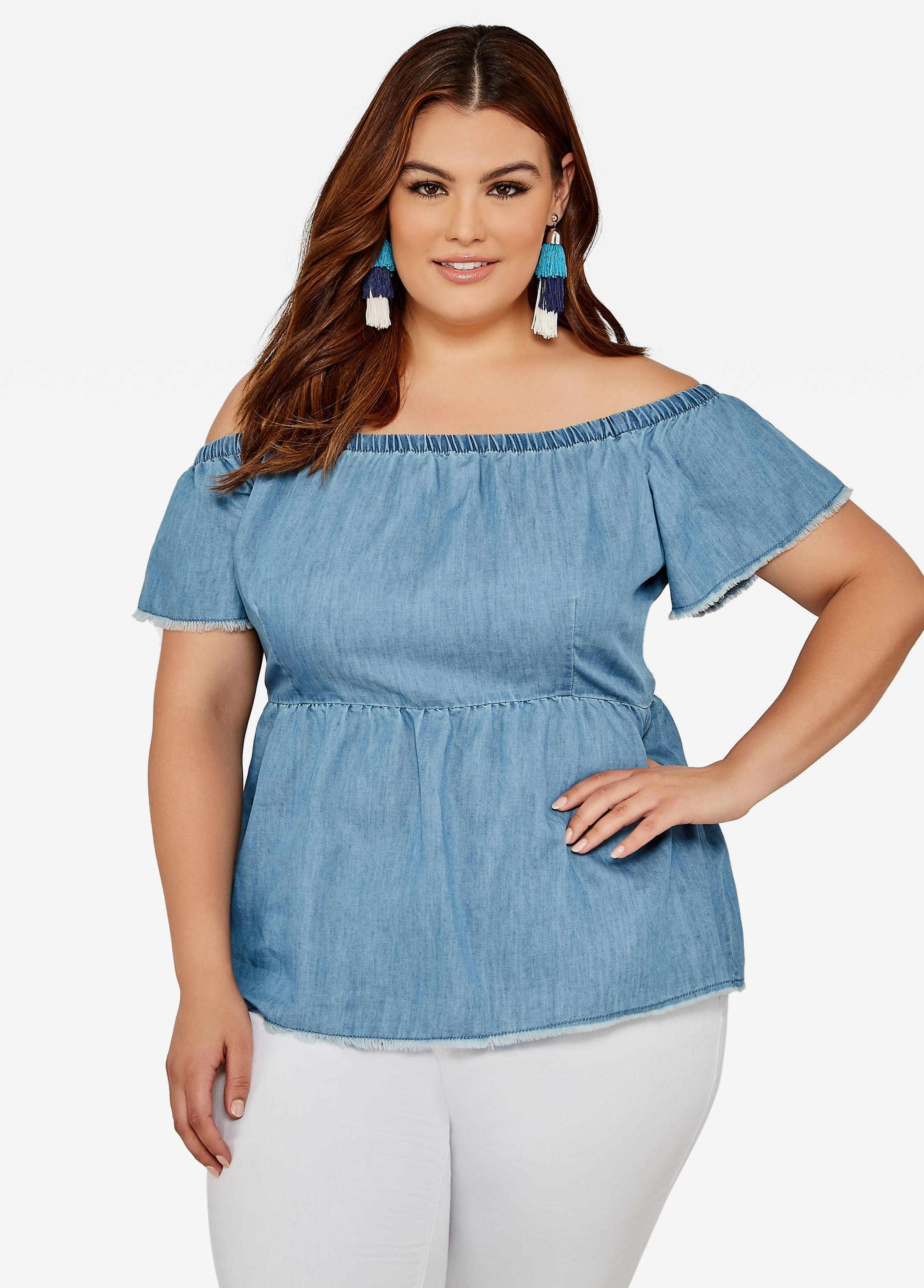 3ce9bb5553d Lyst - Ashley Stewart Plus Size Chambray Off Shoulder Peplum Top in Blue