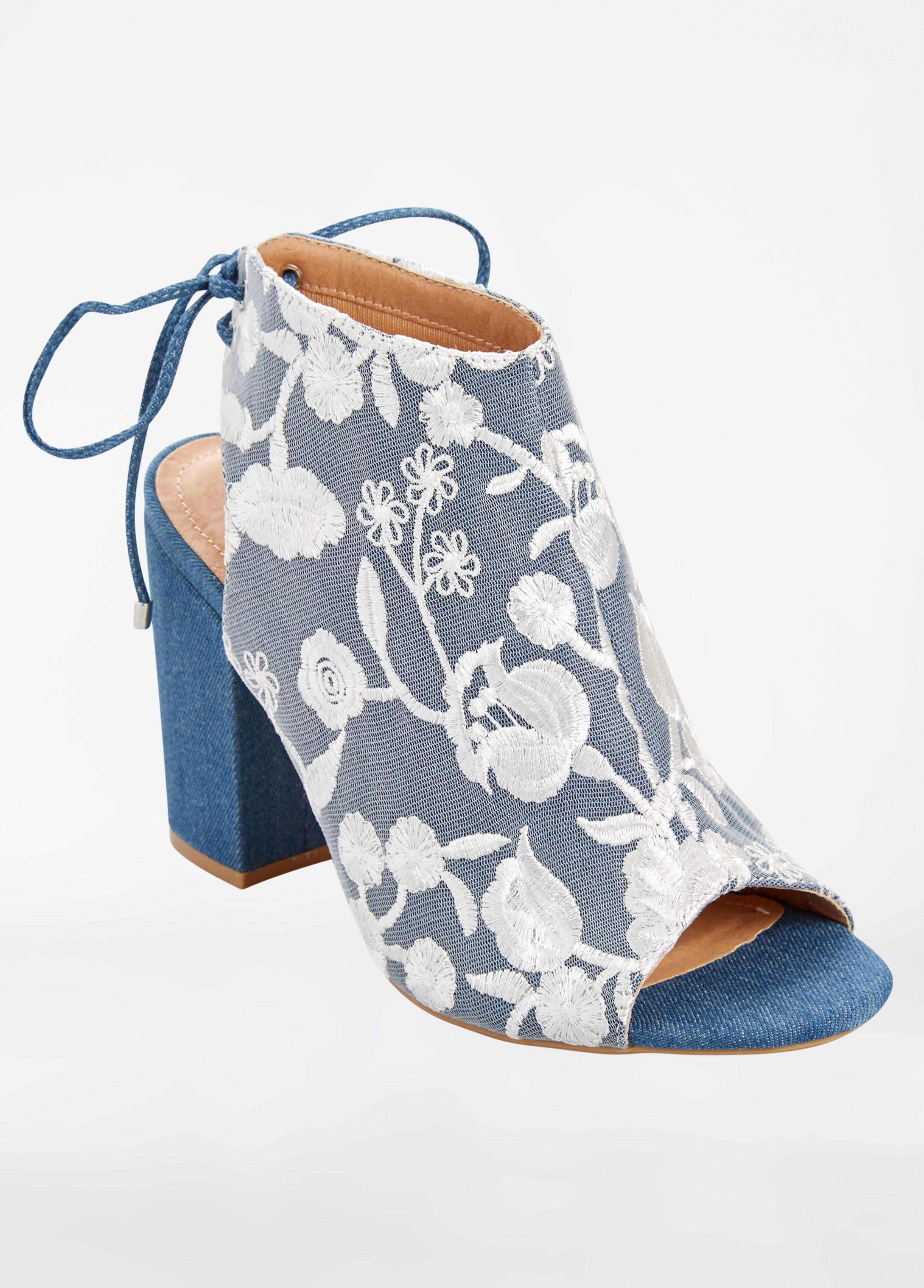 3fcaf9783e0 Lyst - Ashley Stewart Floral Embroidered Tie Back Bootie - Wide ...