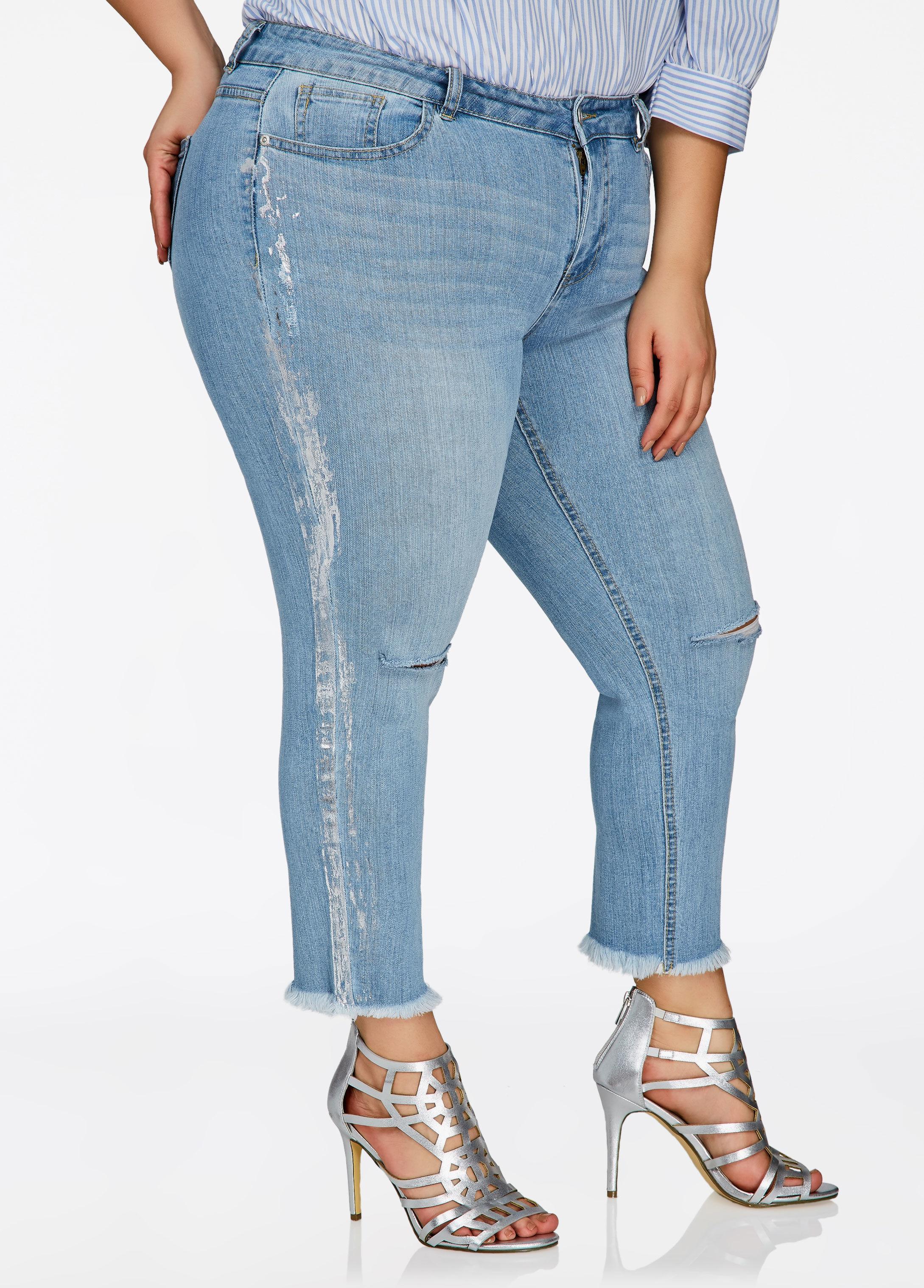 d0a01582e67 Lyst - Ashley Stewart Plus Size Metallic Striped Side Skinny Jean in ...