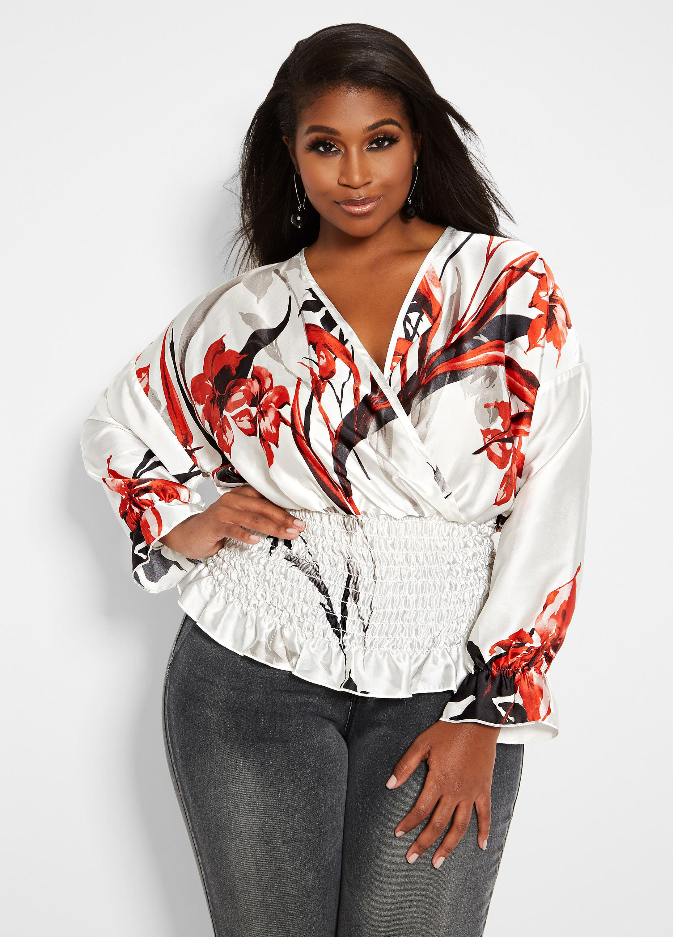 6539ab6cd9d Lyst - Ashley Stewart Plus Size Surplice Satin Floral Blouse in Red