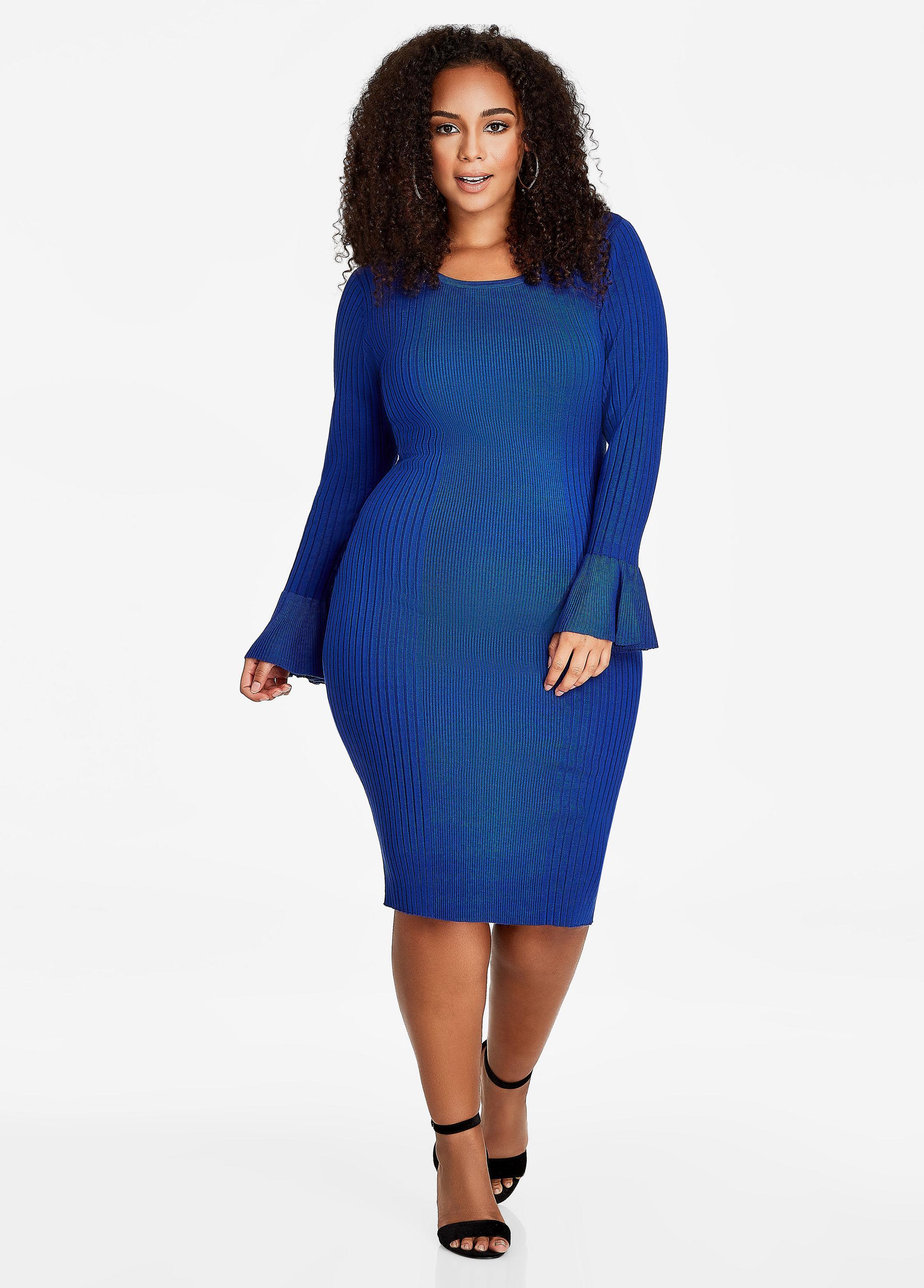 871ab17f55 Lyst - Ashley Stewart Ruffle Sleeve Ribbed Sweater Dress in Blue