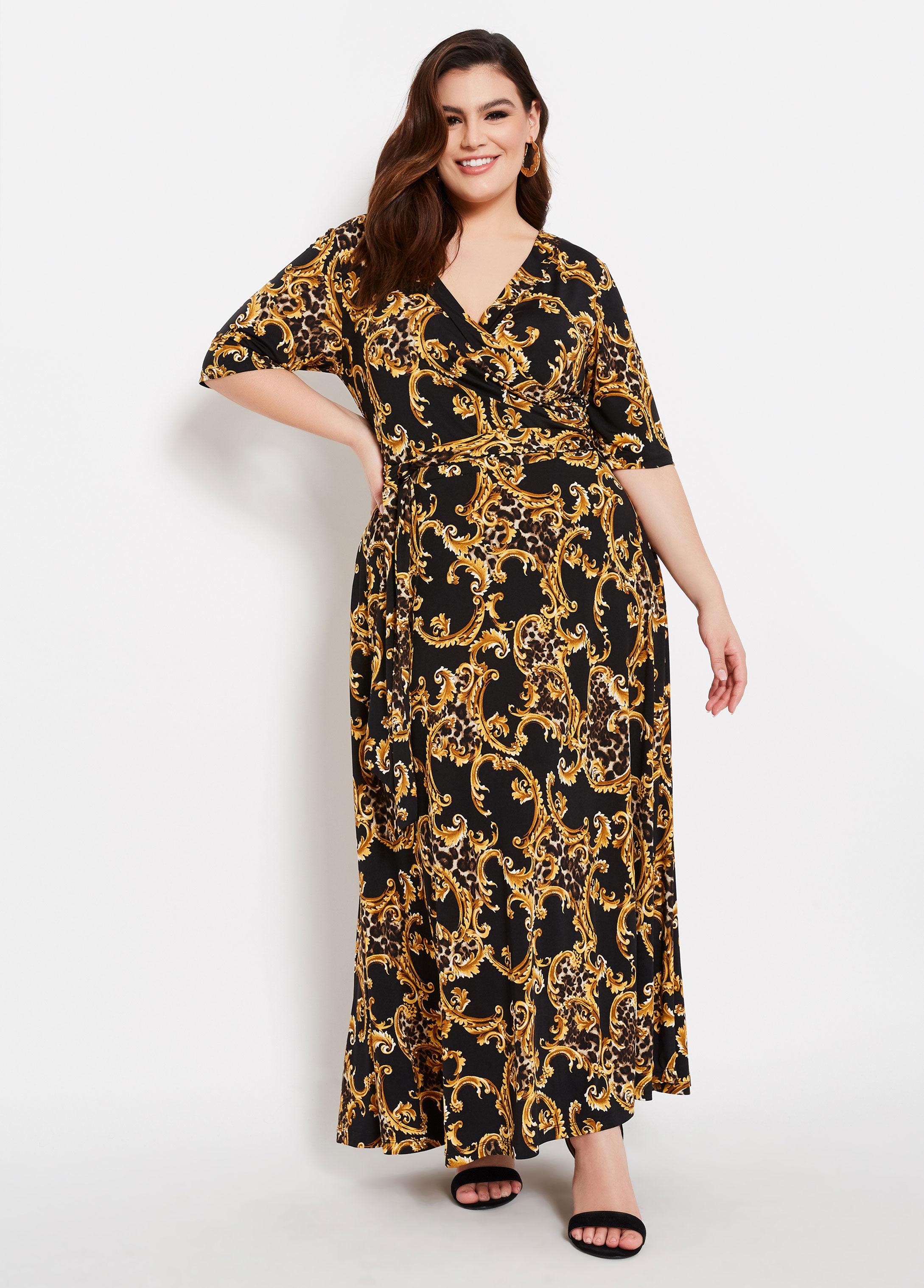 525ad7b136b0 Lyst - Ashley Stewart Plus Size Status Animal Print Faux Wrap Dress ...