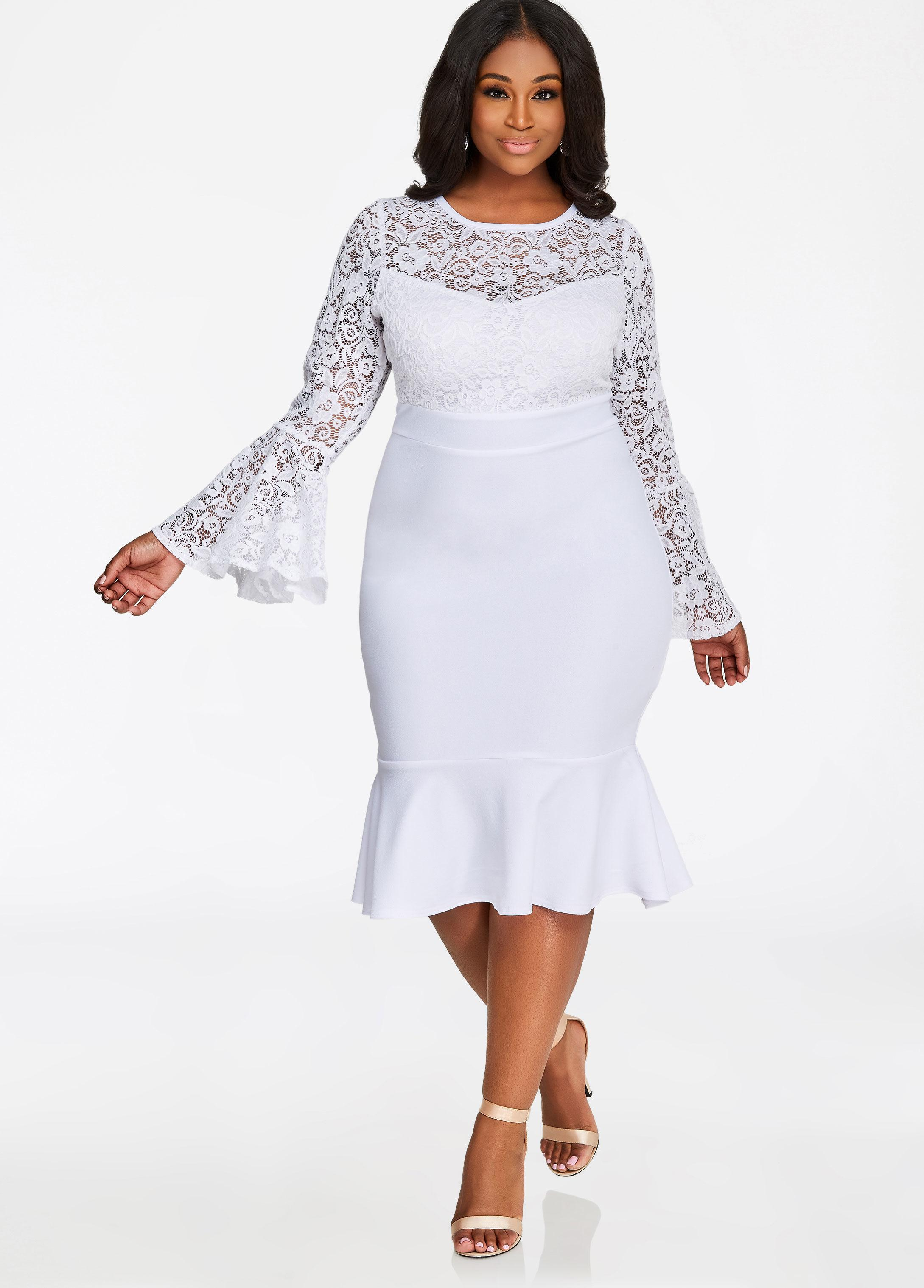 0fecb3baede Ashley Stewart Lace Top Crepe Skirt Dress in White - Lyst