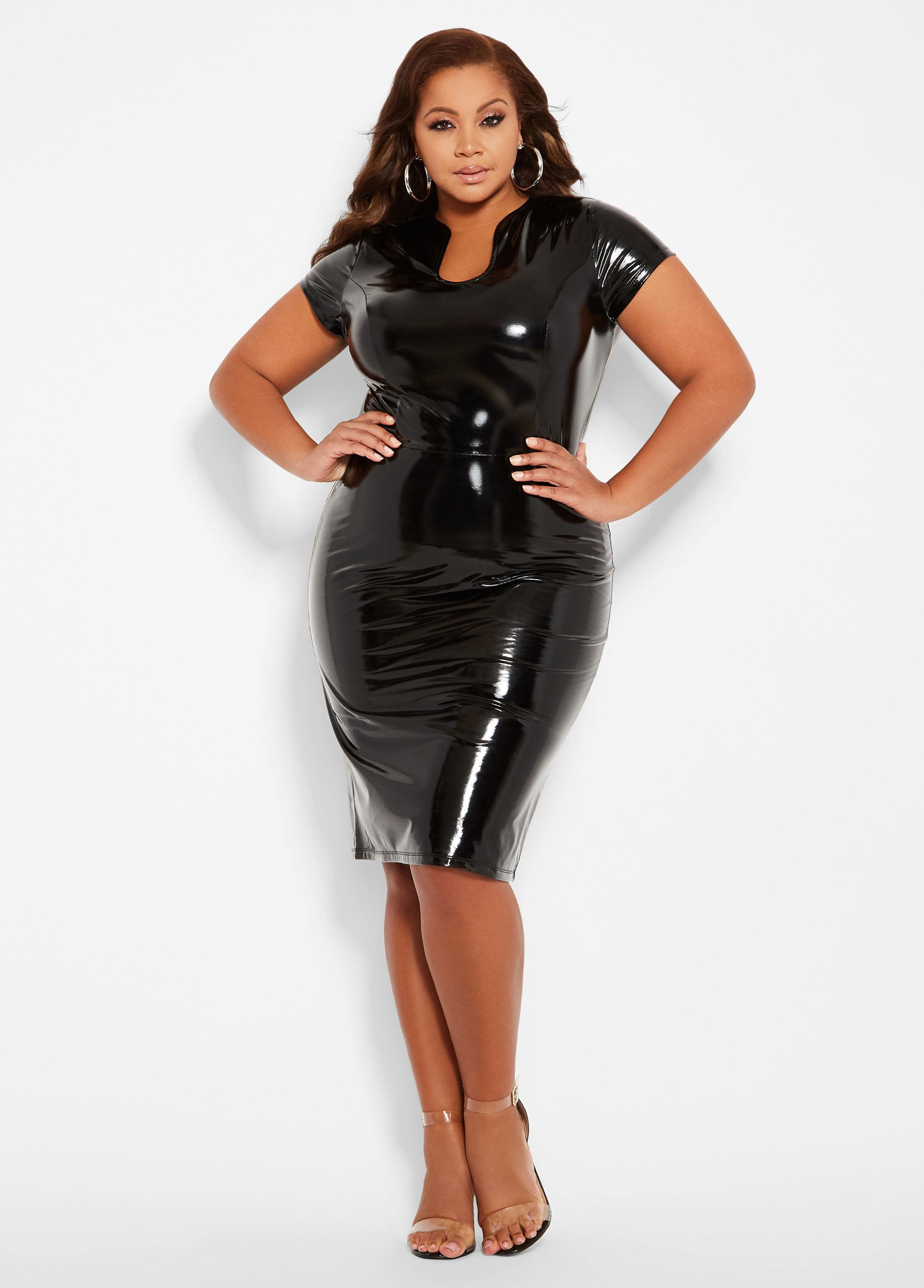 Plus Size Black Leather Dress – Fashion dresses